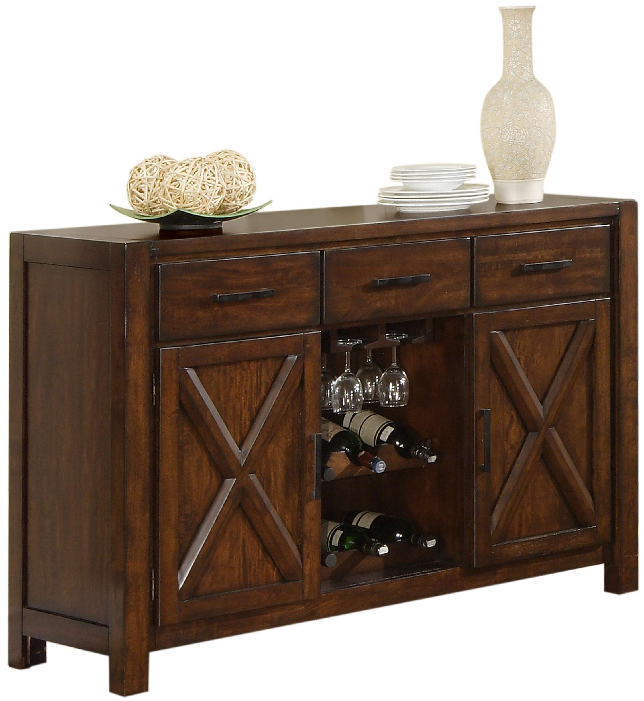 Holland House Lakeshore Dining Sideboard W/ Wine Rack And Stem Intended For Sideboards With Wine Rack (View 7 of 20)