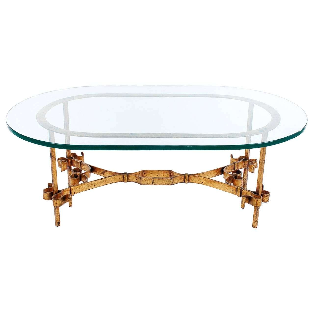 Hollywood Regency Italian Gilt Iron And Glass Coffee Table For Throughout Latest Glass And Metal Coffee Tables (View 15 of 20)