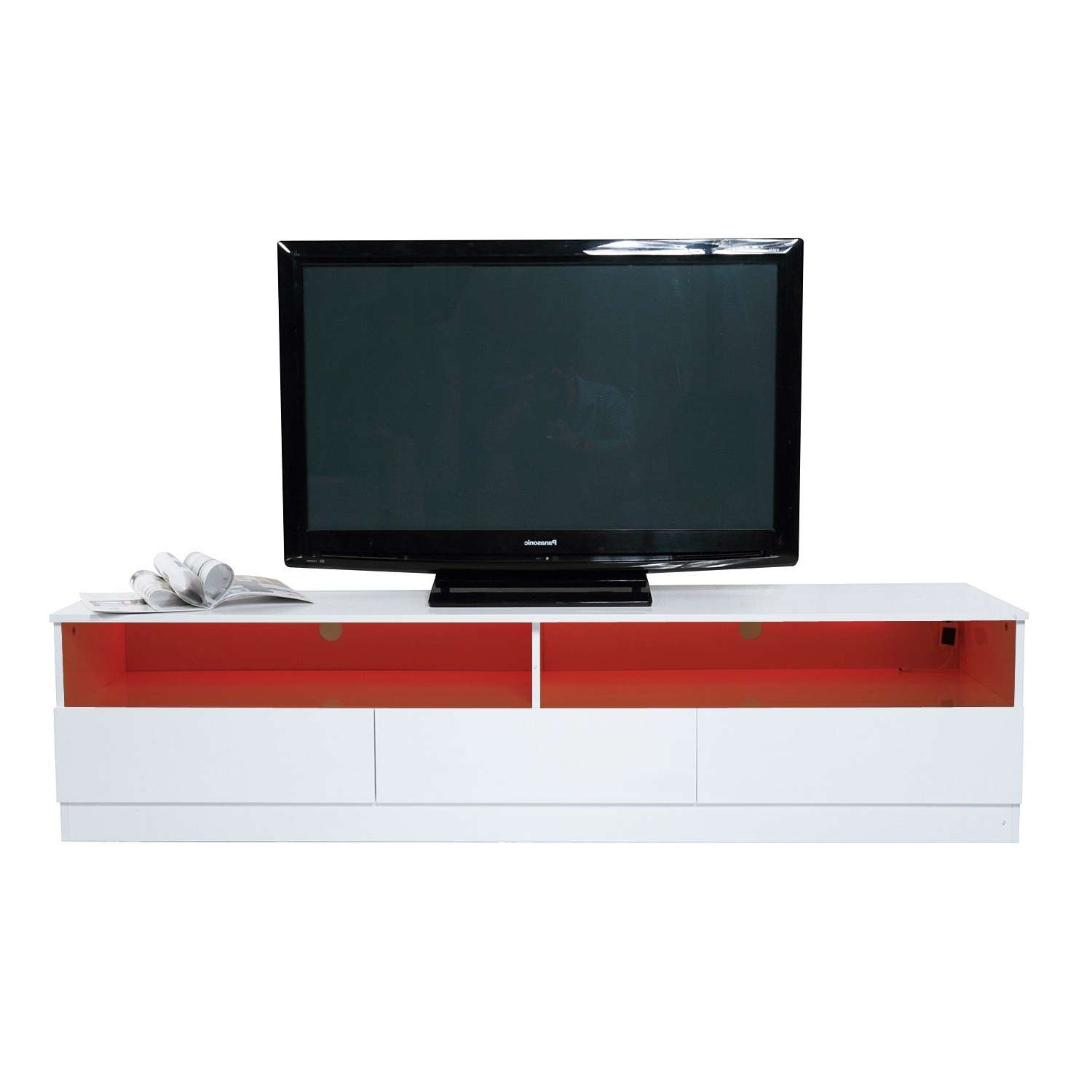 "Homcom 71"" High Gloss Led Tv Cabinet Stand Home Entertainment Throughout Led Tv Cabinets (View 11 of 20)"