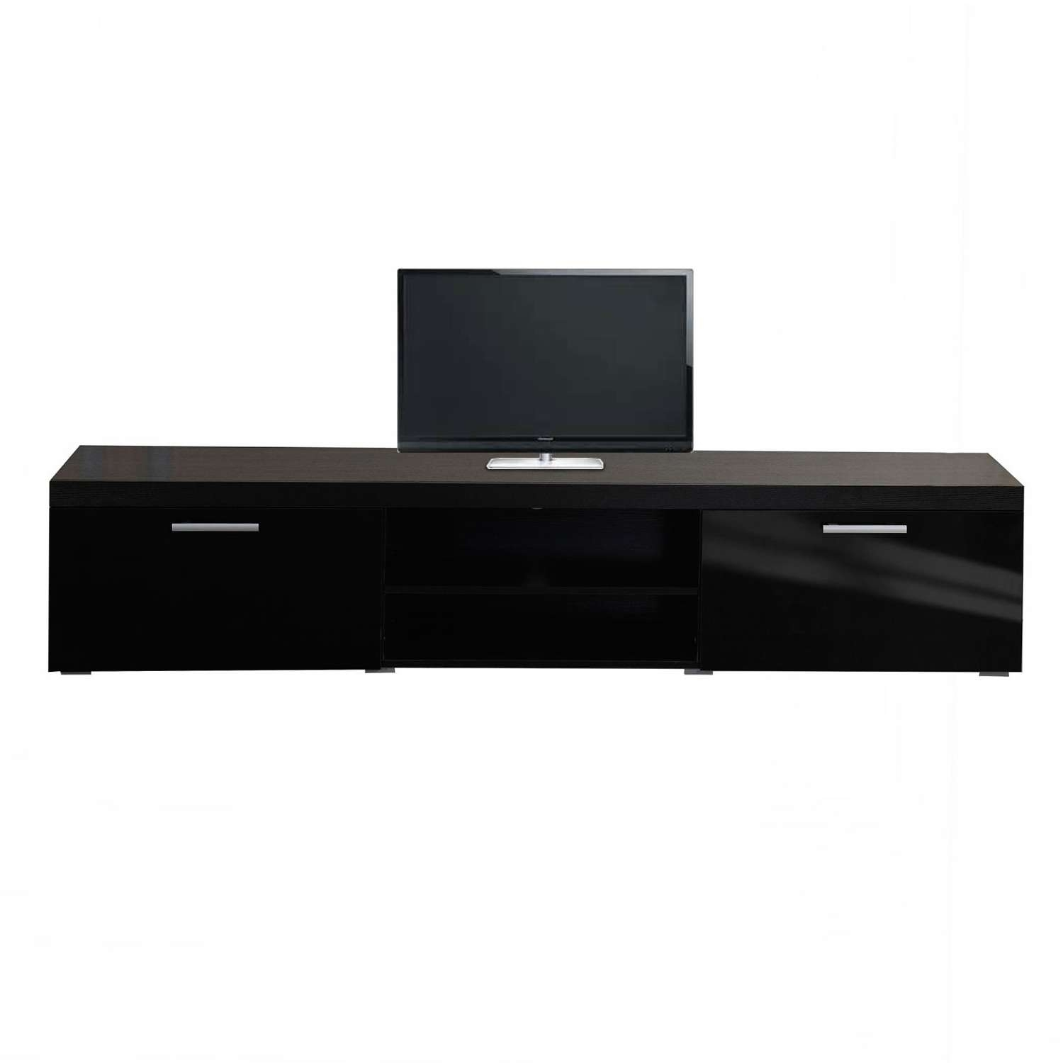 Homcom Tv Cabinet Unit, 2 High Gloss Doors Black | Aosom.co (View 9 of 20)