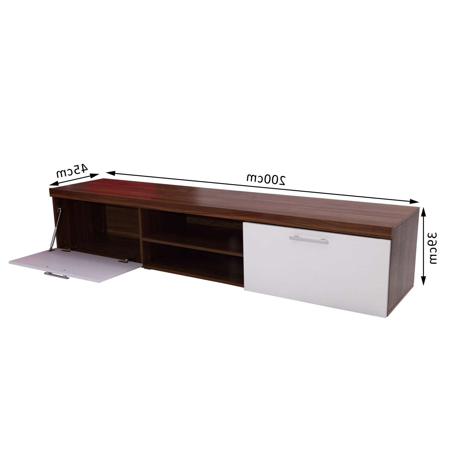 Homcom Tv Cabinet Unit, 2 High Gloss Doors White/walnut Regarding Walnut Tv Cabinets With Doors (View 8 of 20)
