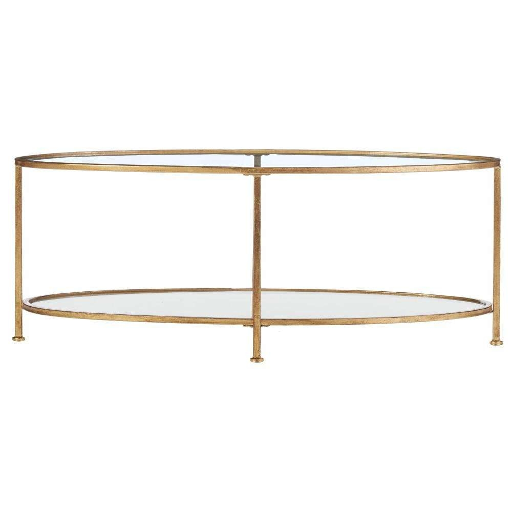 Home Decorators Collection Bella Aged Gold Oval Glass Coffee Table Throughout Newest Glass Gold Coffee Tables (View 4 of 20)