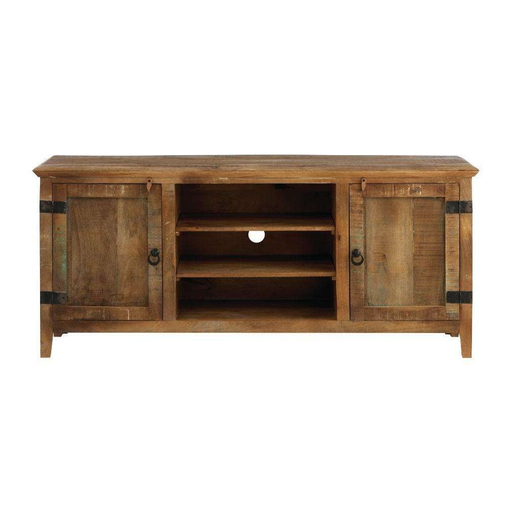 Home Decorators Collection Holbrook Natural Reclaimed Storage Throughout Large Corner Tv Cabinets (View 5 of 20)