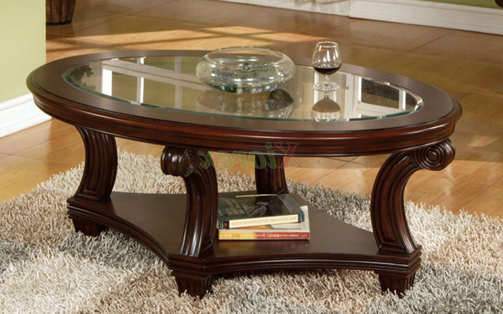 Home Furniture In Current Oval Glass And Wood Coffee Tables (View 9 of 20)