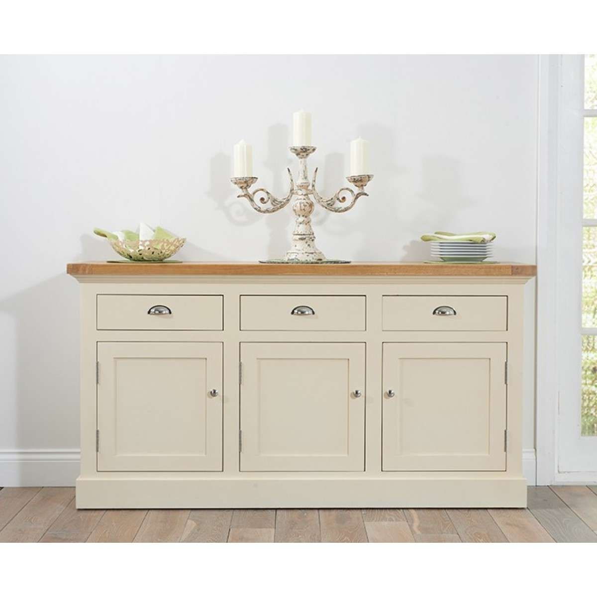 Home Furniture Trading Cavanaugh Large Oak & Cream Sideboard Regarding Cream And Oak Sideboards (View 11 of 20)