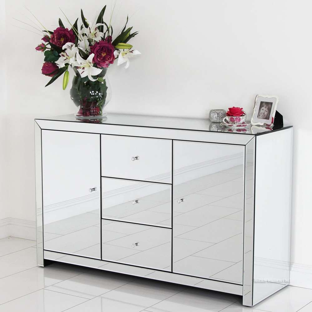 Home Ideas: Beautiful Shines Mirrored Sideboard For Home Furniture For Silver Sideboards (View 8 of 20)