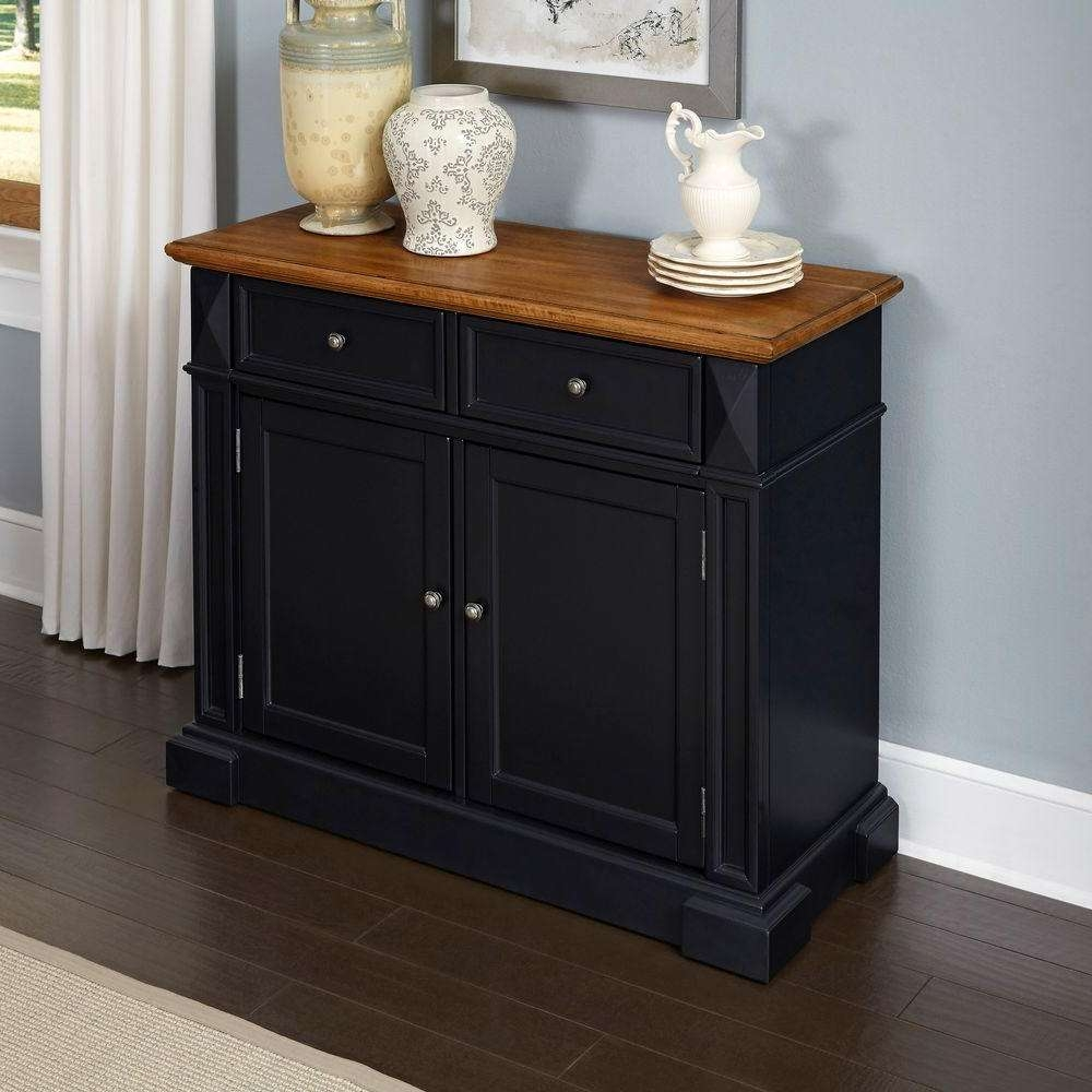 Home Styles Americana Black And Oak Buffet 5003 69 – The Home Depot For Black Sideboards And Buffets (View 17 of 20)