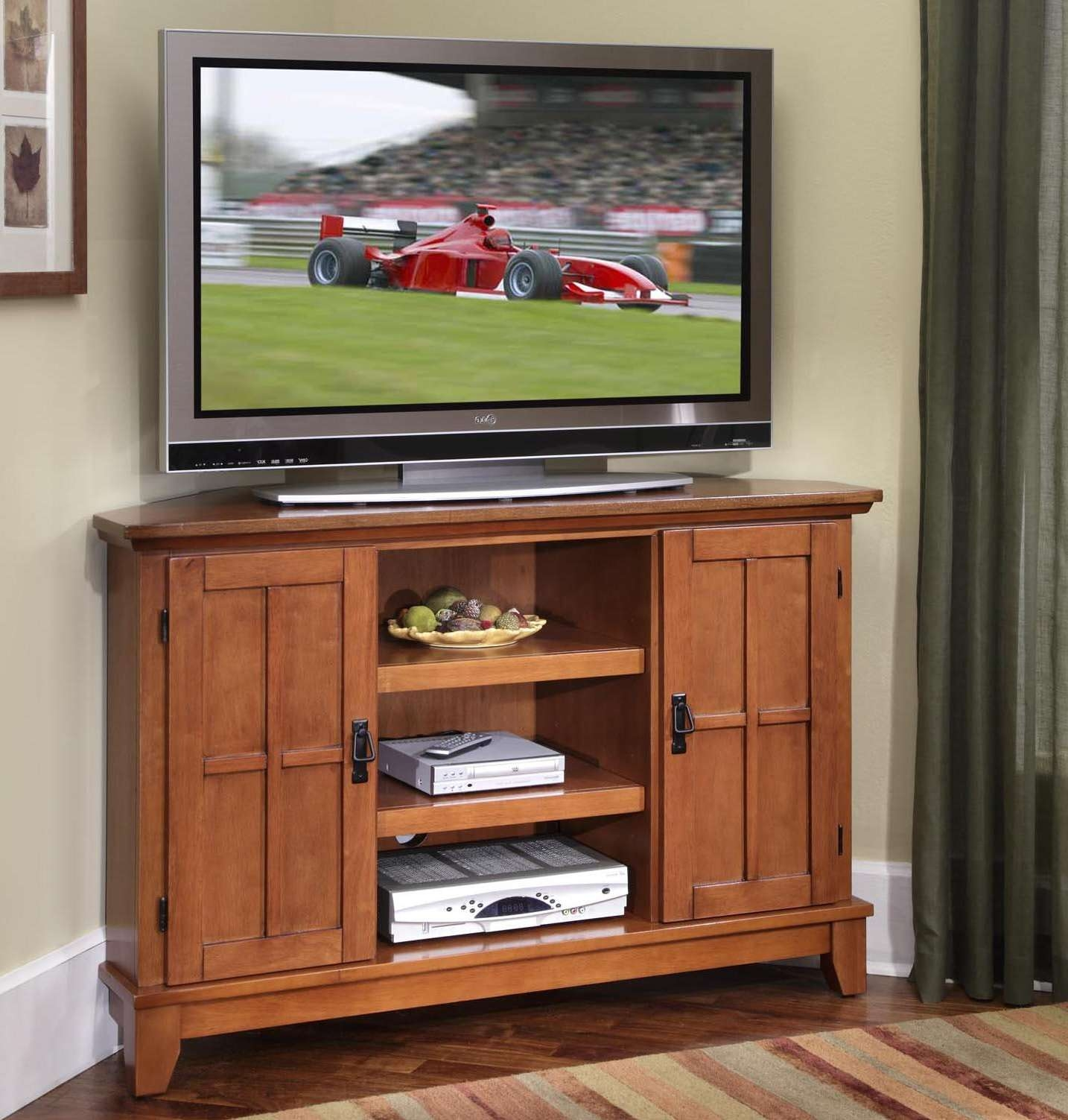 Home Styles Arts And Crafts 2 Door Corner Entertainment Cabinet For Corner Tv Cabinets With Hutch (View 13 of 20)