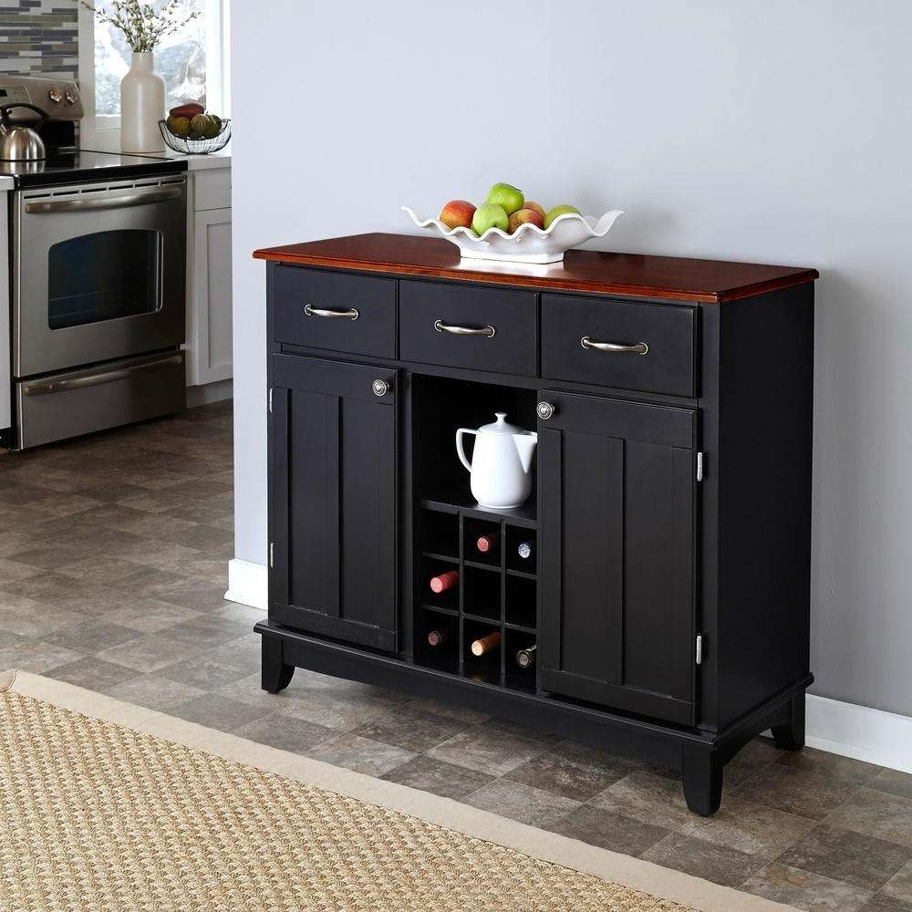 Home Styles Black And Cherry Buffet With Wine Storage 5100 0042 Pertaining To Buffet Sideboards Servers (View 17 of 20)