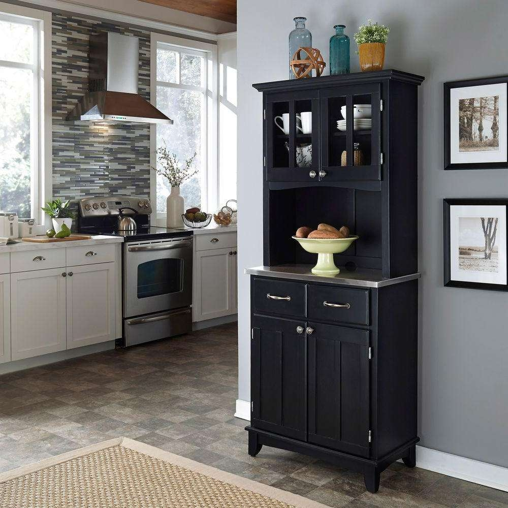 Home Styles Black And Stainless Steel Buffet With Hutch 5001 0043 In 42 Inch Sideboards (View 20 of 20)