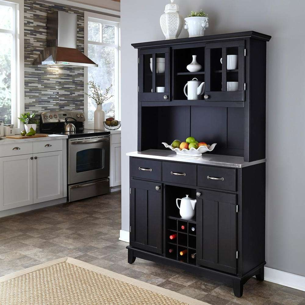 Home Styles Black Buffet With Hutch 5100 0046 42 – The Home Depot Intended For Kitchen Sideboards Buffets (View 8 of 20)