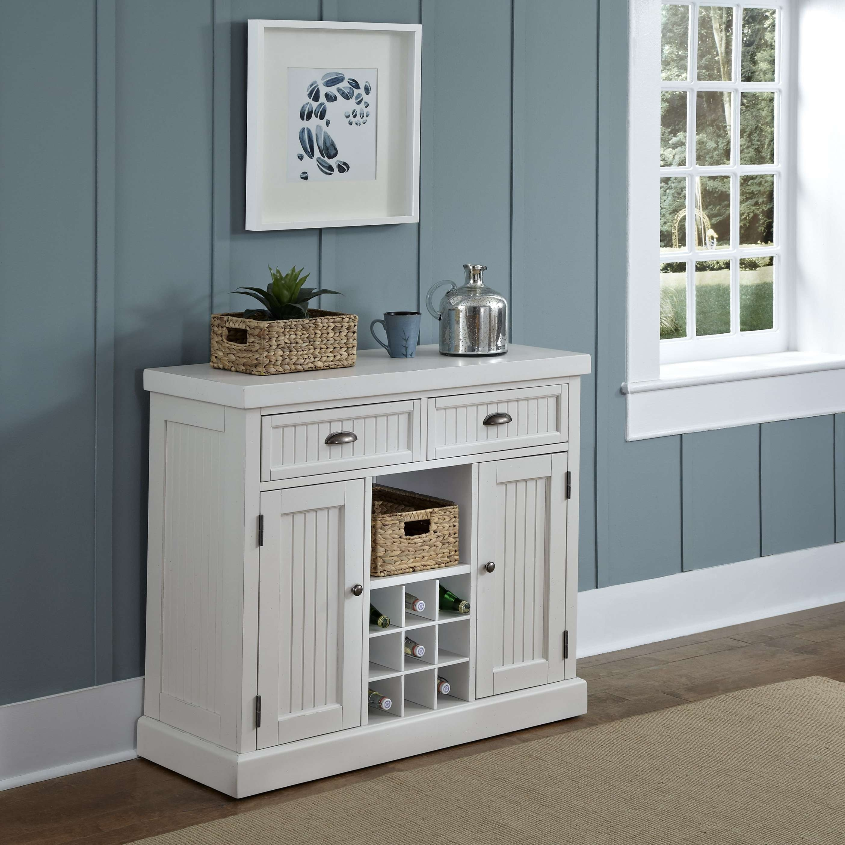 Home Styles Nantucket Buffet In White Walmart Within Cream Kitchen Sideboards Gallery 15 Of