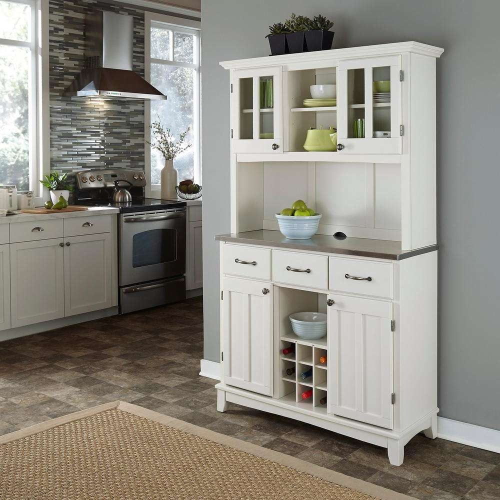 Home Styles White Buffet With Hutch 5100 0023 22 – The Home Depot Within White Sideboards Cabinets (Gallery 11 of 20)