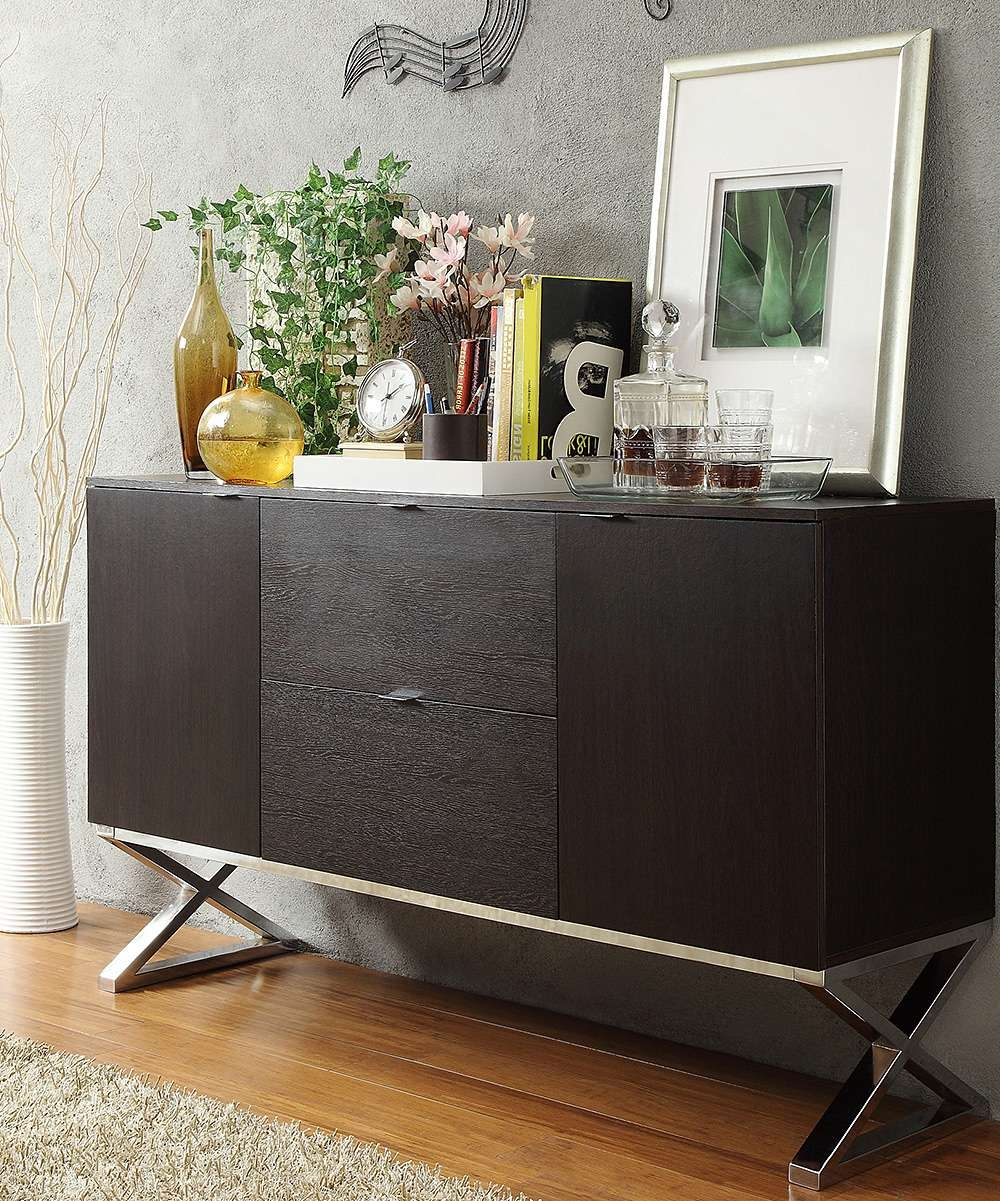 Homebelle Espresso X Cross Sideboard Buffet Server | Zulily Regarding Sideboards Buffet Servers (View 11 of 20)