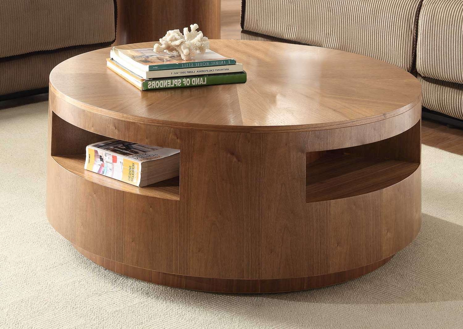 Homelegance Aquinnan Round Coffee Table With Casters – Natural In Most Recent Circular Coffee Tables With Storage (View 13 of 20)