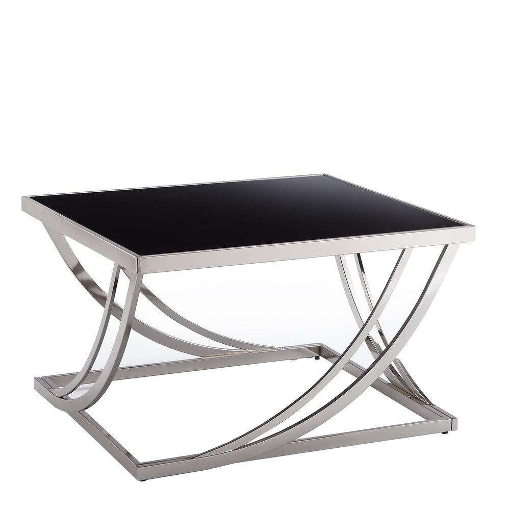 Homesullivan Melrose Black And Chrome Coffee Table 40338l212w(3a In Widely Used Chrome Coffee Tables (Gallery 5 of 20)