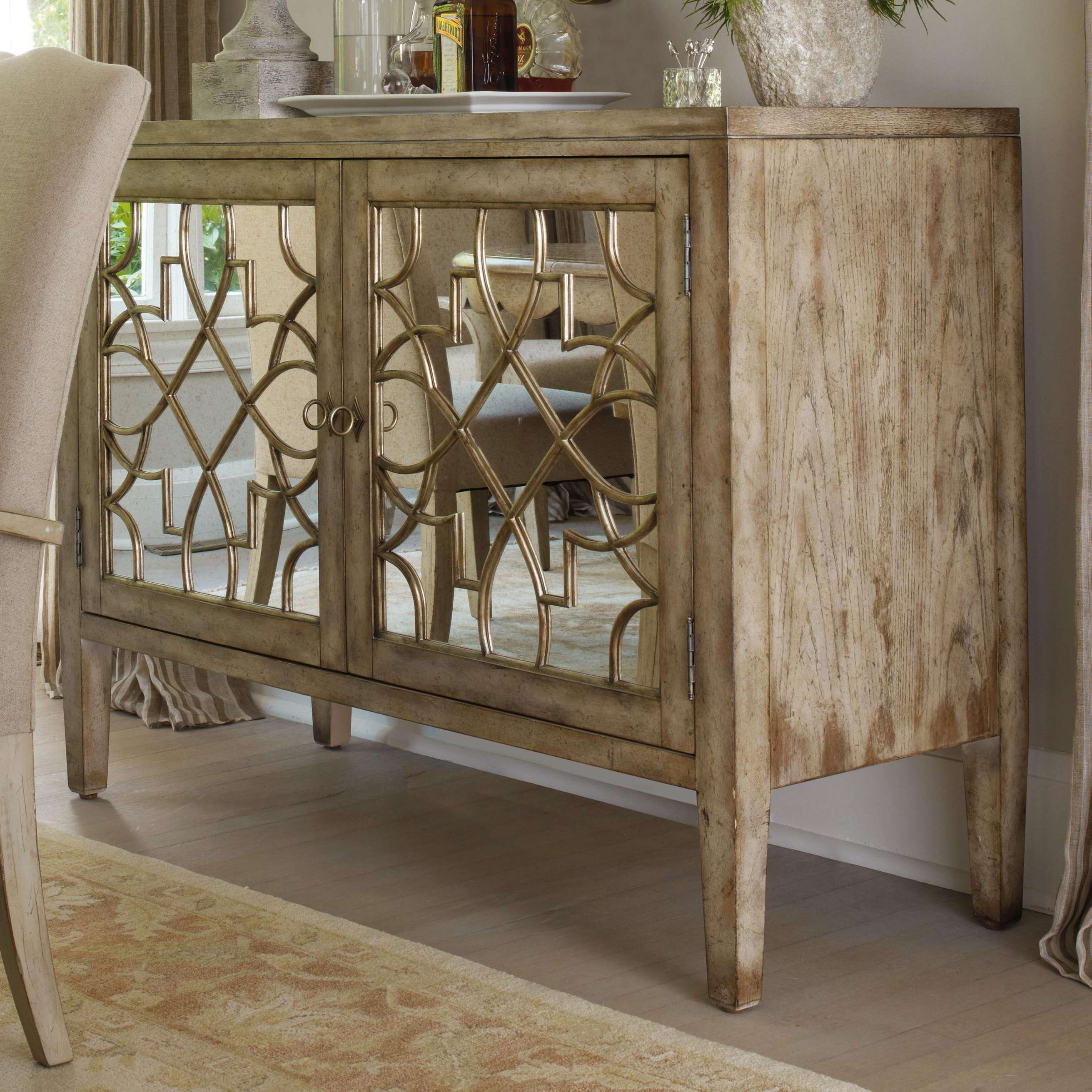 Hooker Furniture Sanctuary Two Door Mirrored Console – Ahfa With Regard To Mirrored Buffet Sideboards (View 10 of 20)