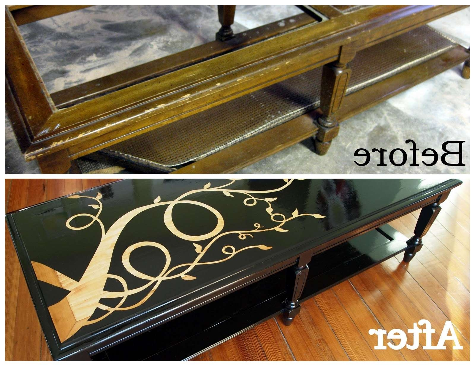 How To Make A Woodgrain Coffee Table With Stencil Art With Regard To Popular Art Coffee Tables (View 14 of 20)