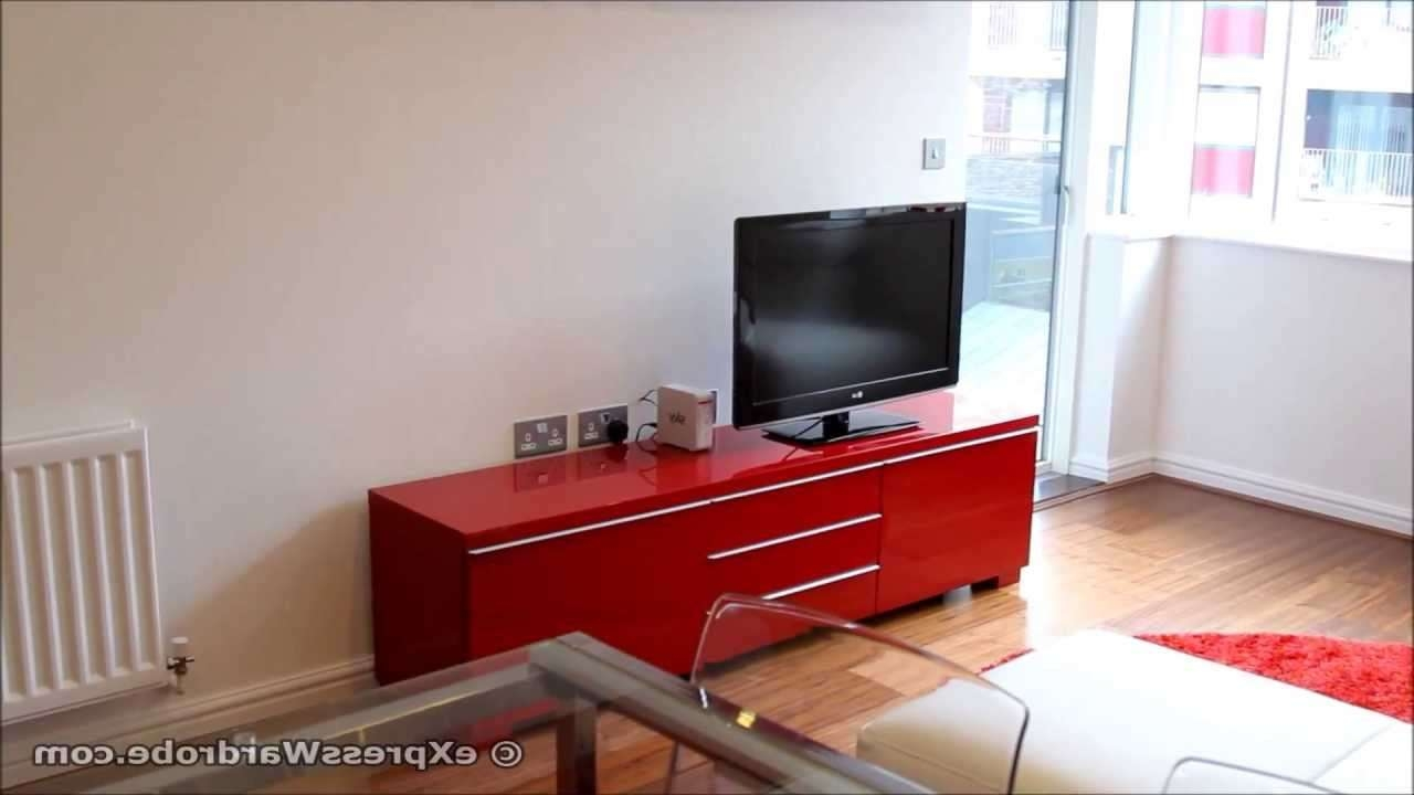 Ikea Besta Burs Tv Bench With Storage, Glass Extendable Dining Pertaining To Red Gloss Tv Cabinets (View 5 of 20)