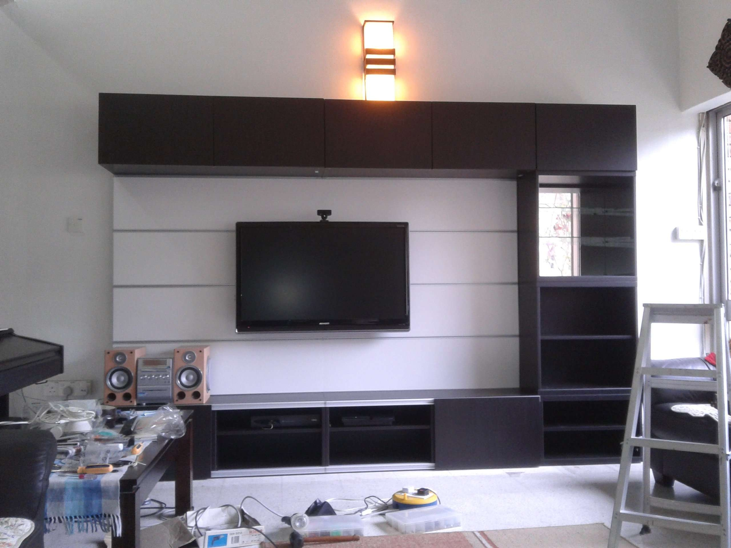 Ikea Besta Tv Stand With Black Wooden Cabinet And Selves Also Regarding Stylish Tv Cabinets (View 9 of 20)