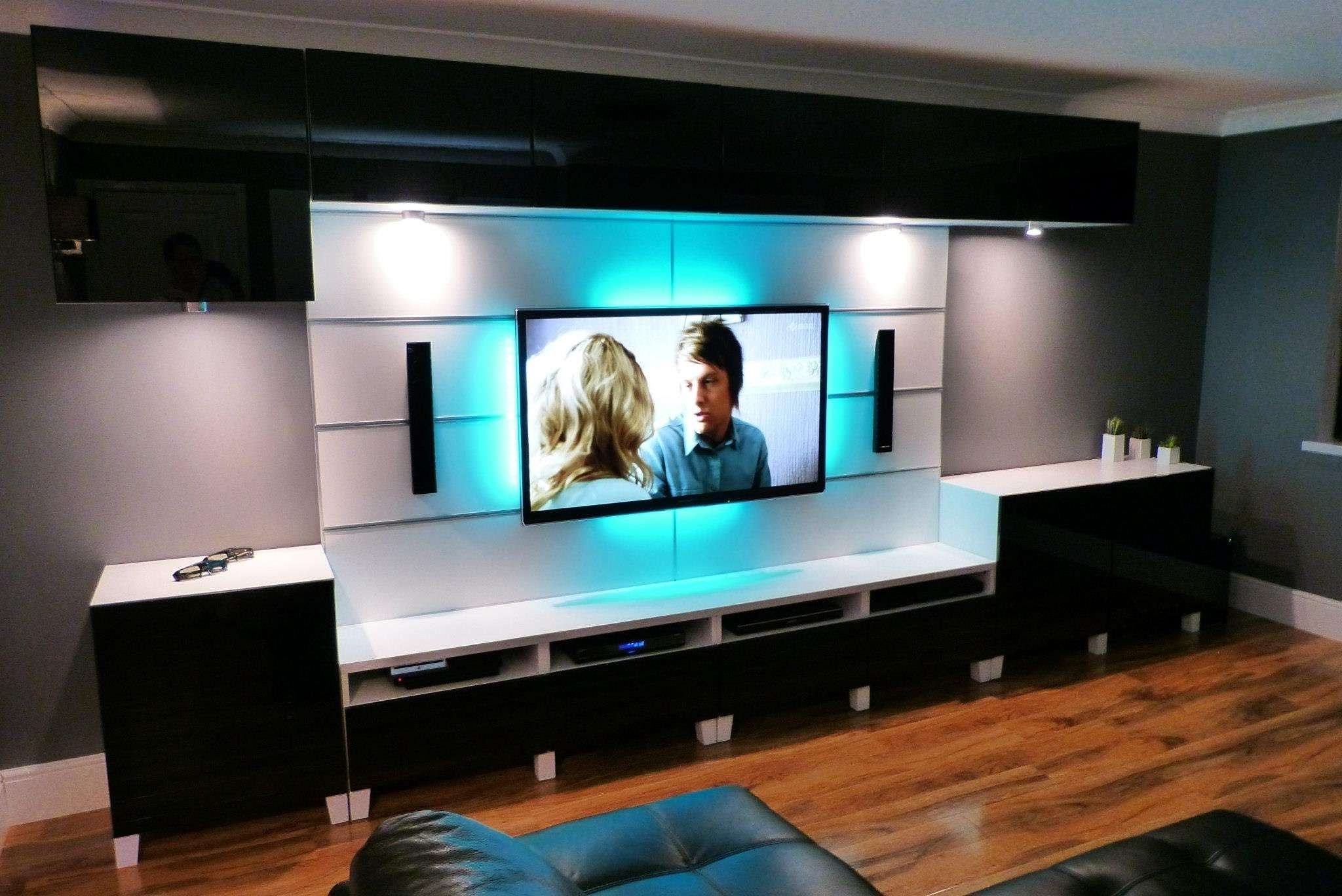 Ikea Besta Tv Stand With Black Wooden Cabinet With White Top And With Regard To Big Tv Cabinets (View 19 of 20)