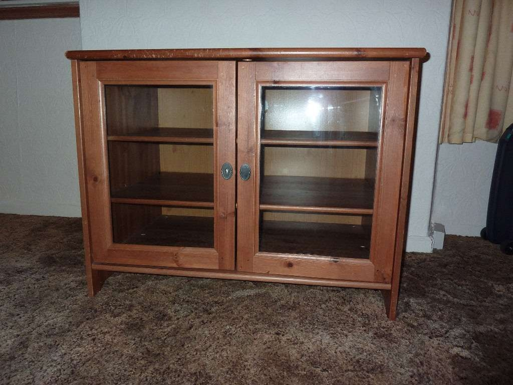 Ikea Leksvik Solid Pine Tv Cabinet With Glass Doors – Trekkerboy Inside Tv Cabinets With Glass Doors (View 10 of 20)