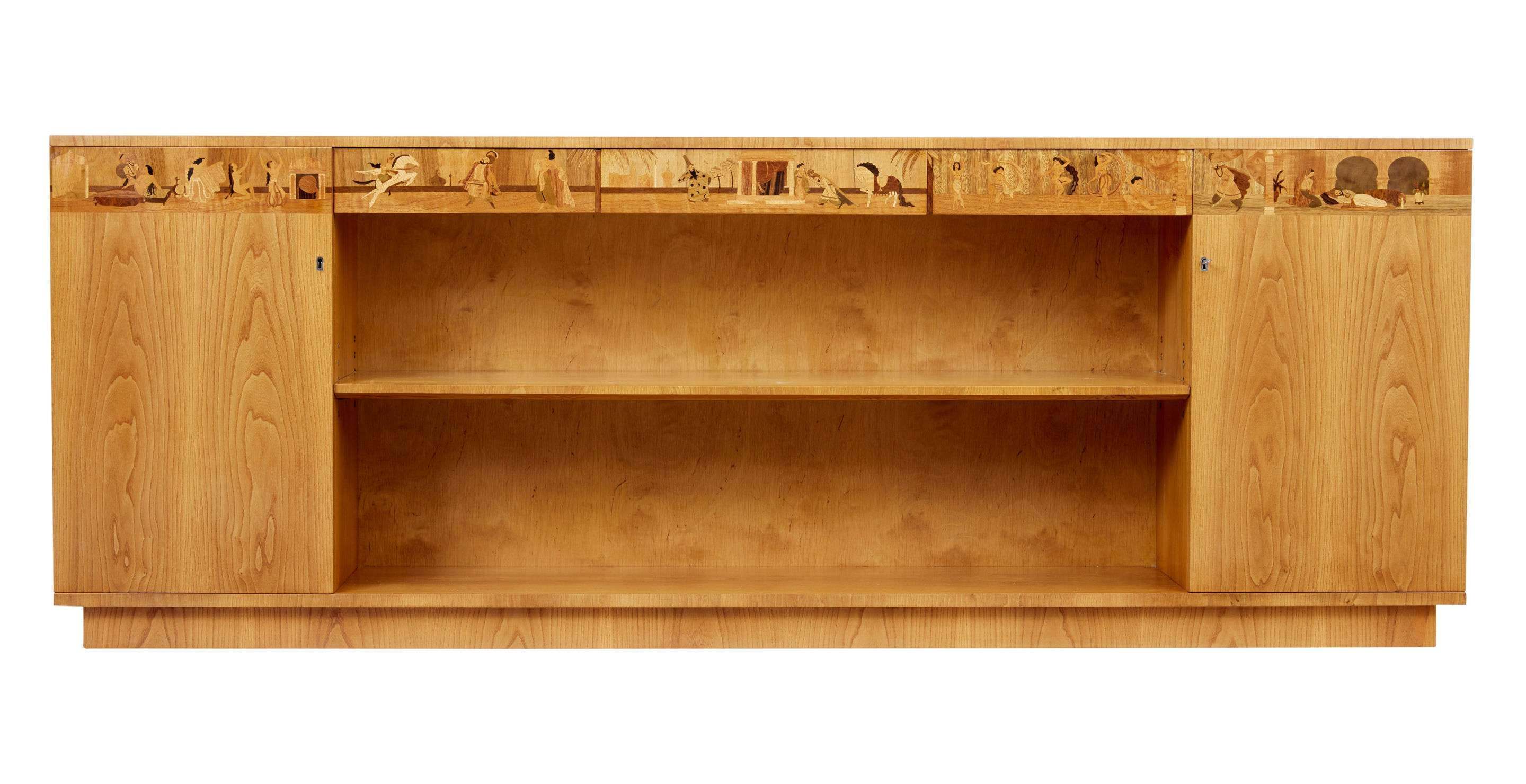 Impressive Large Elm Inlaid Scandinavian Low Bookcase (1950 Sweden Within Long Low Sideboards (Gallery 8 of 20)