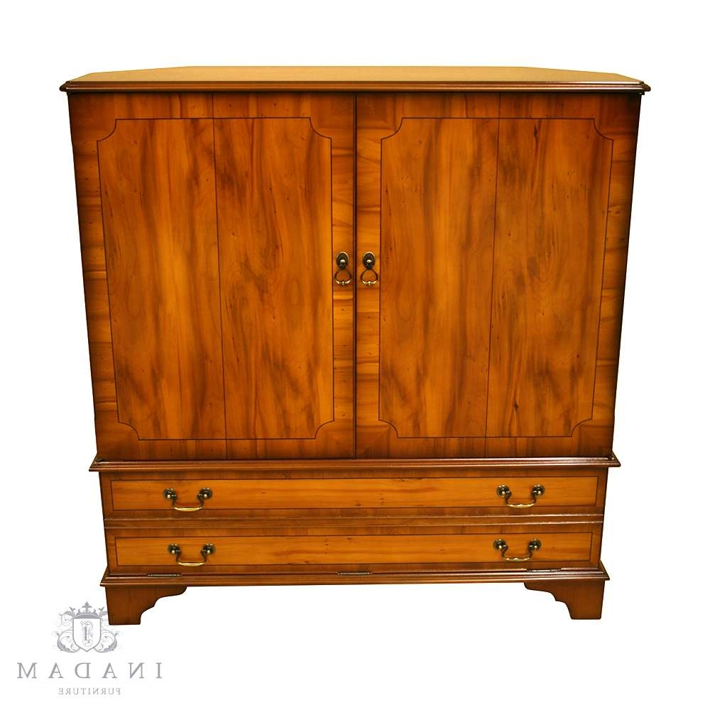 Inadam Furniture – Fully Enclosed Tv Cabinet – In Mahogany/yew/oak Regarding Enclosed Tv Cabinets With Doors (View 10 of 20)