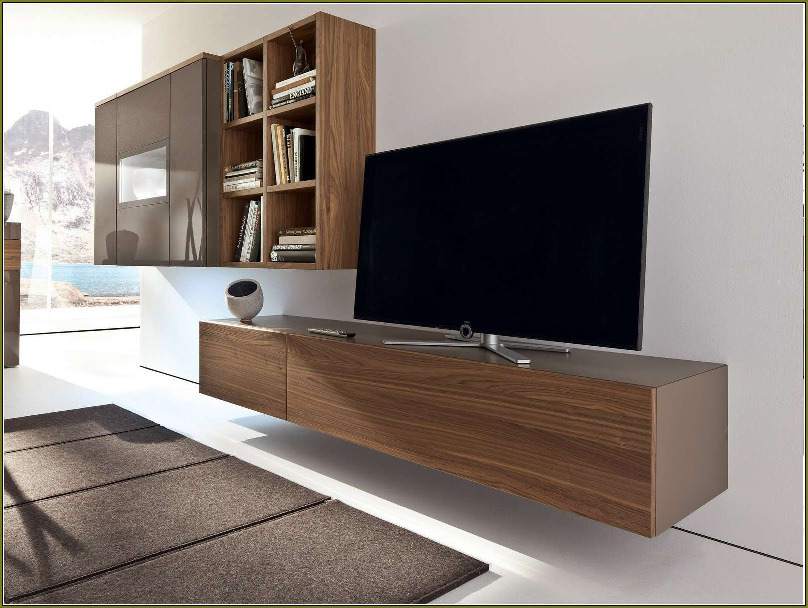 Indian Rosewood Wall Mounted Tv Cabinet With Sliding Door Panel With Regard To Wall Mounted Under Tv Cabinets (View 11 of 20)