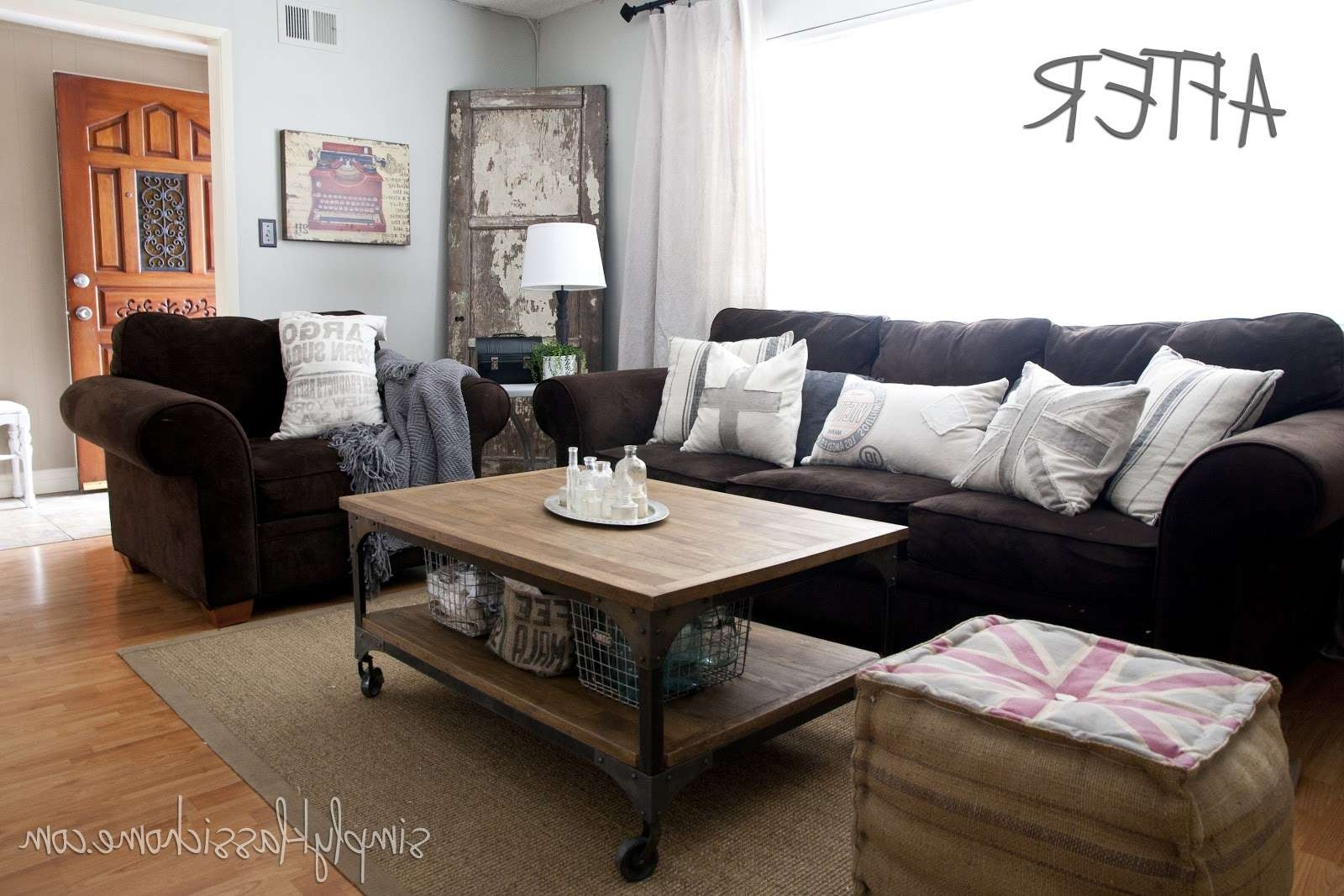 Industrial Blend Living Room Makeover Reveal – Yellow Bliss Road Regarding Fashionable Aiden Coffee Tables (View 12 of 20)