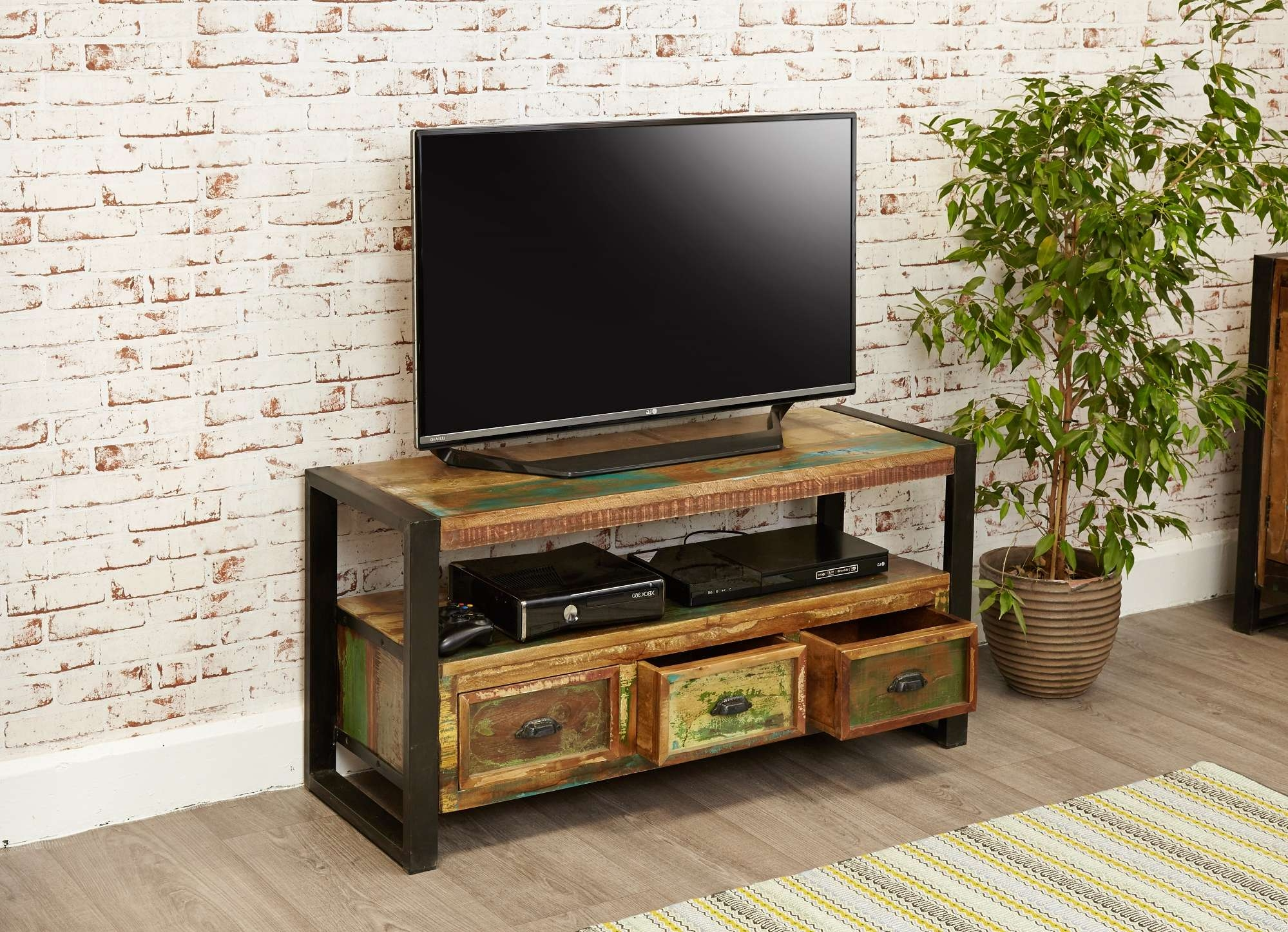 Industrial Chic Widescreen Television Cabinet | Hampshire Furniture For Widescreen Tv Cabinets (View 14 of 20)