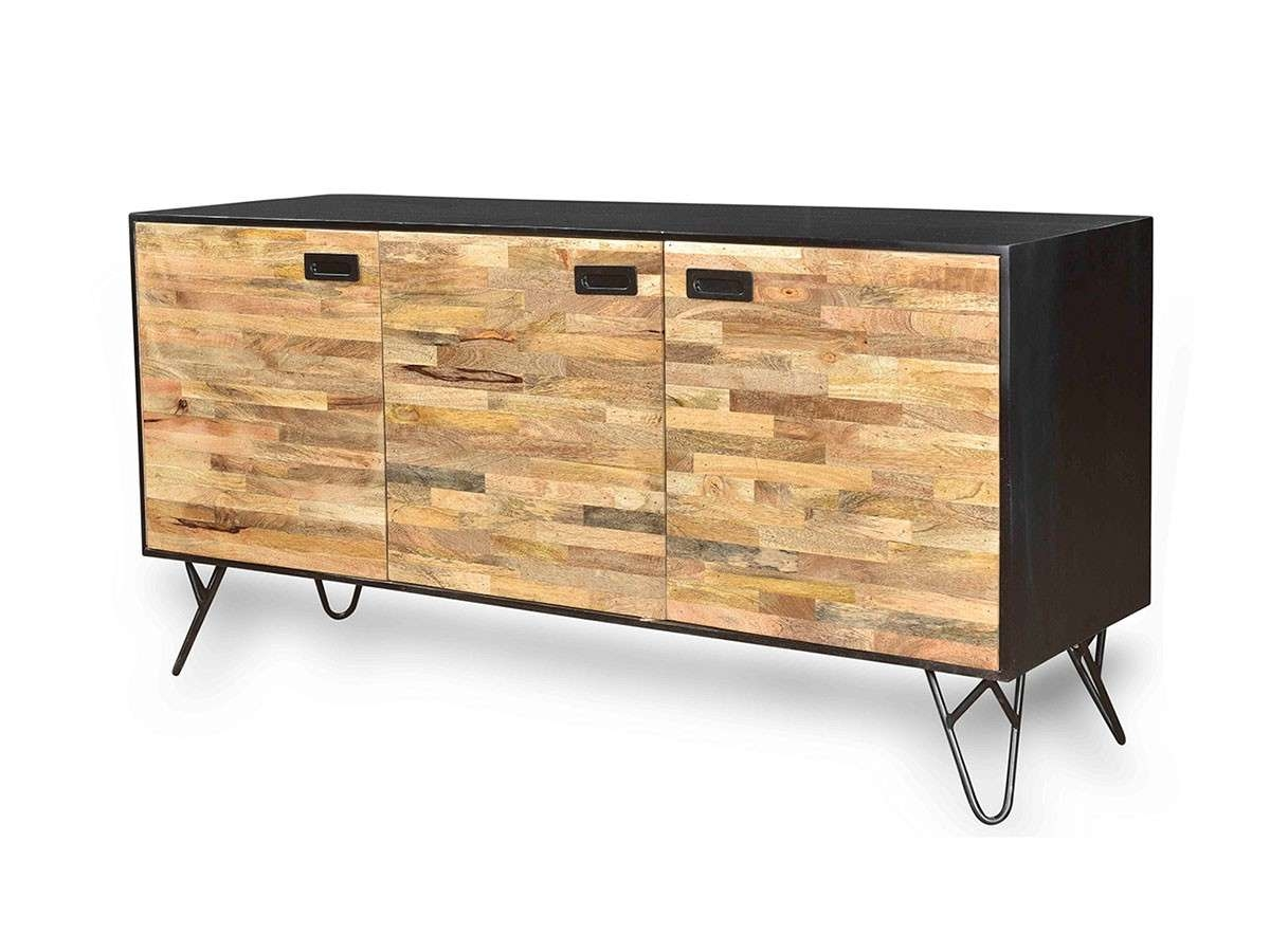 Industrial Design Mango Wood Sustainable Sideboard With Black Intended For Industrial Sideboards (View 14 of 20)