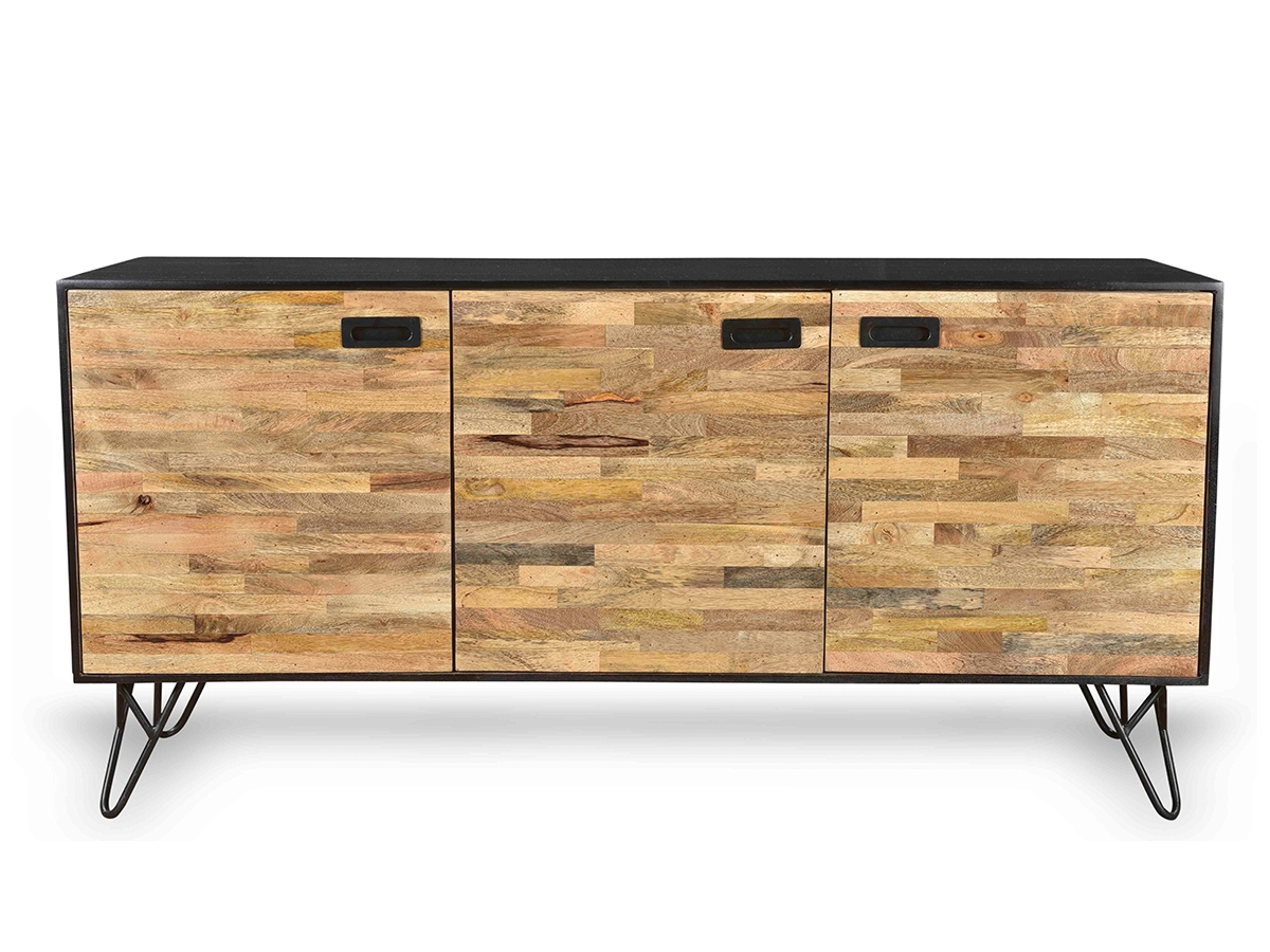 Industrial Design Mango Wood Sustainable Sideboard With Black Regarding Industrial Sideboards (View 12 of 20)