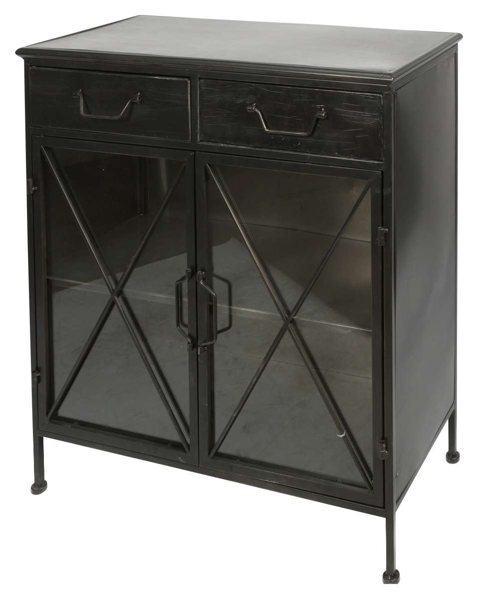 Industrial Metal & Glass Sideboard | Temple & Webster In Glass Sideboards (View 13 of 20)