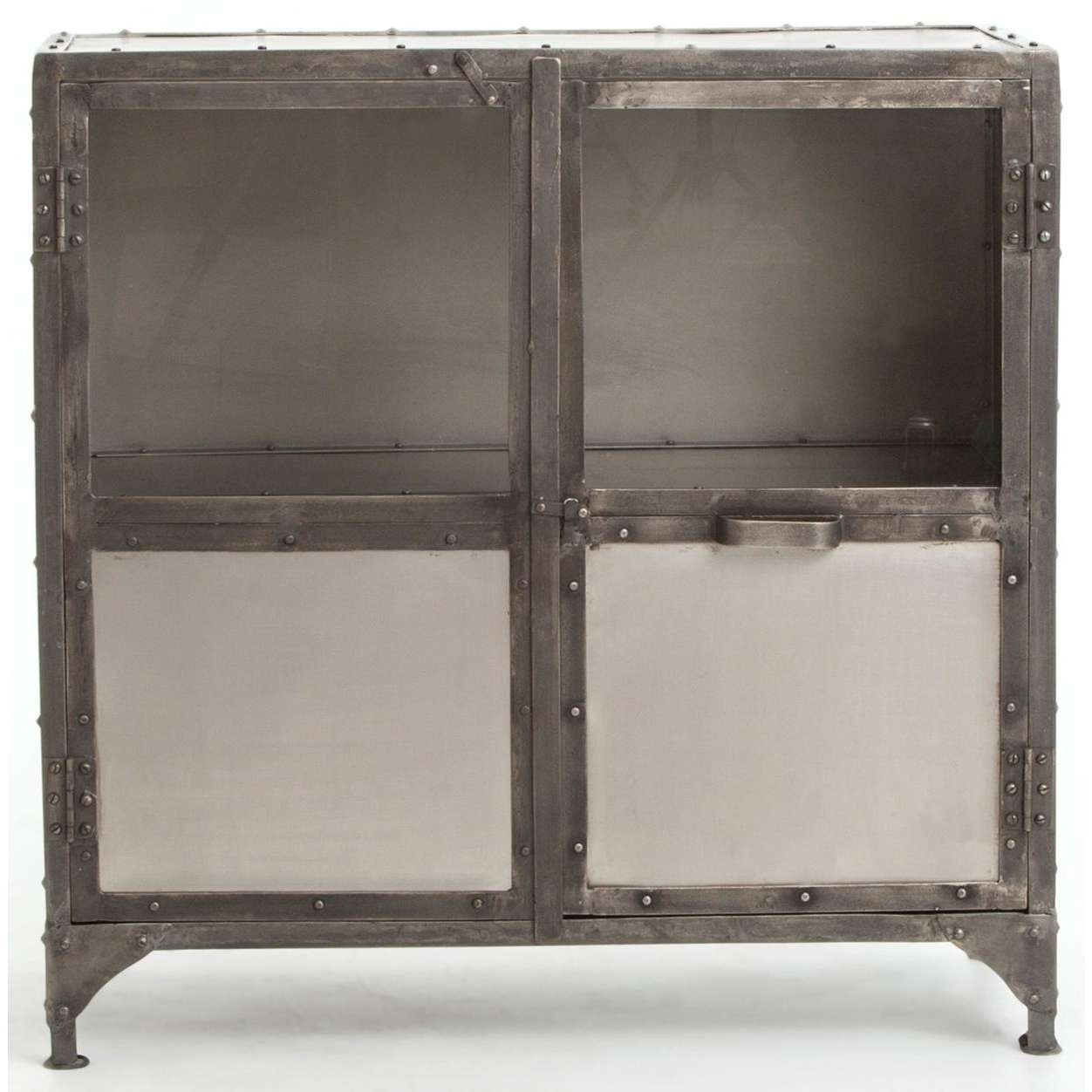 Industrial Metal Sideboard With Glass Doorsfour Hands | Wolf Throughout Sideboards With Glass Doors (View 8 of 20)