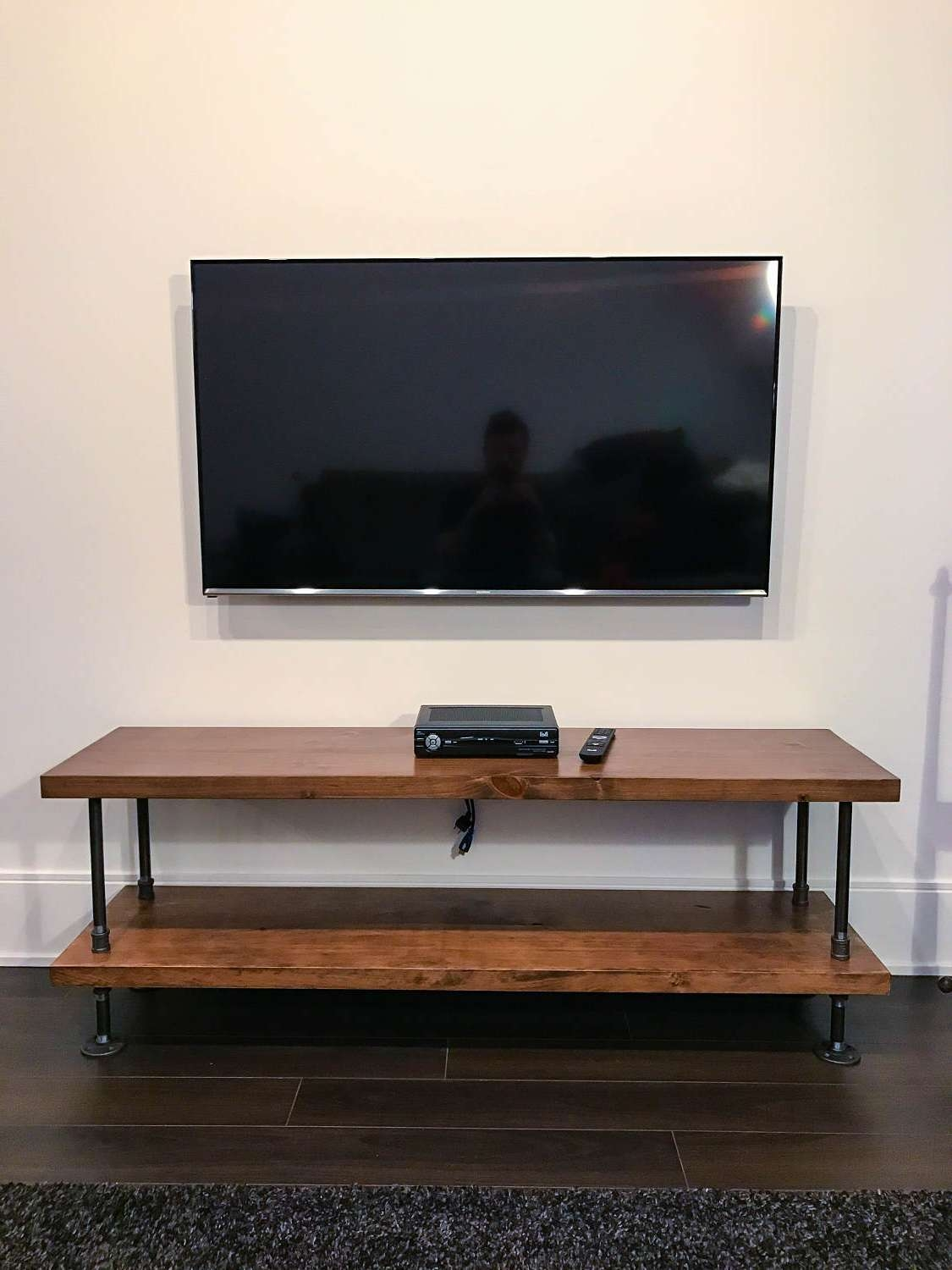 Industrial Pipe And Wood Tv Stand Entertainment Unit In Industrial Tv Cabinets (View 9 of 20)