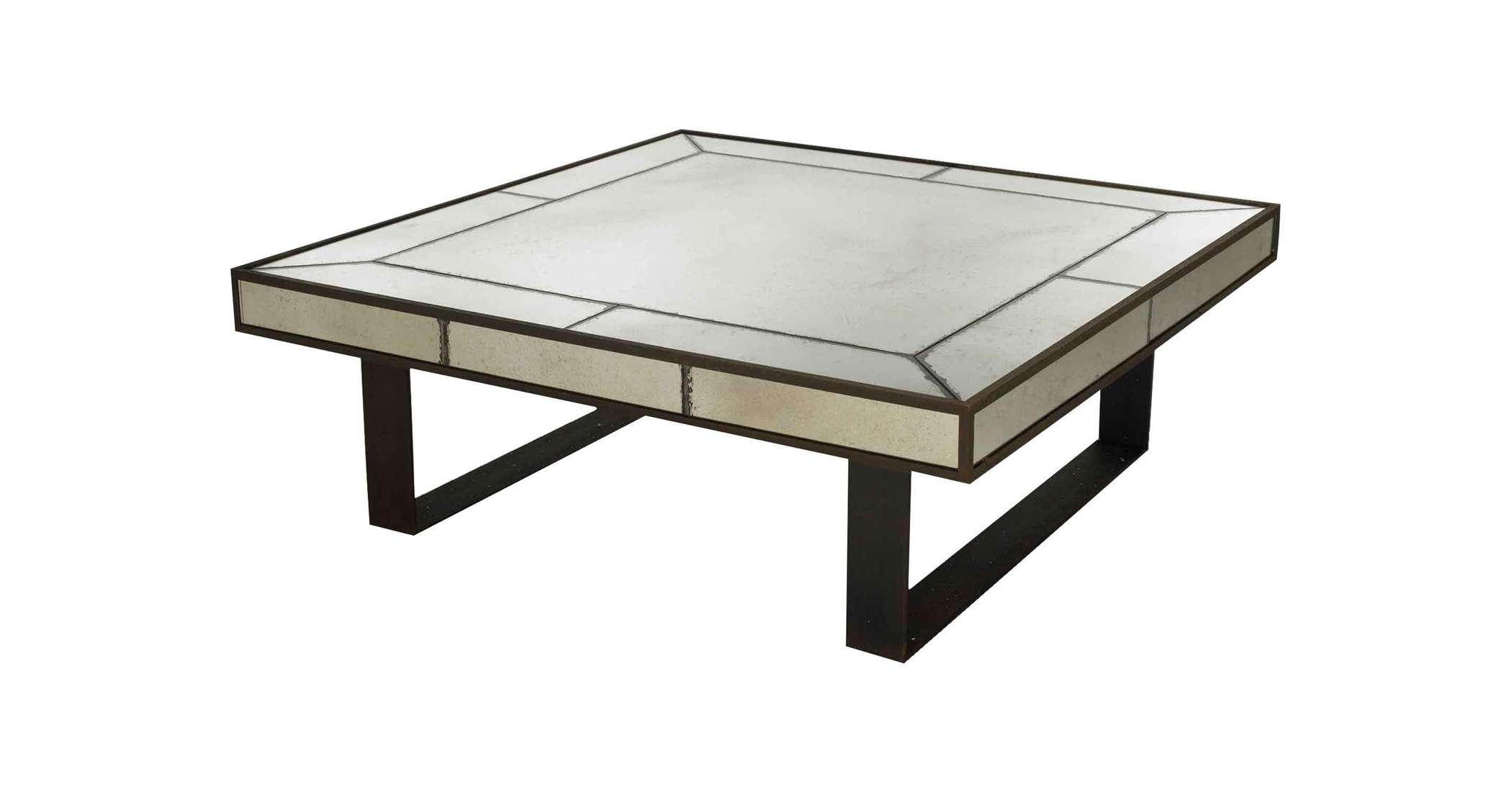Industrial Square Mirrored Coffee Table With Black Metal Frame For Within Well Known Antique Mirrored Coffee Tables (View 9 of 20)