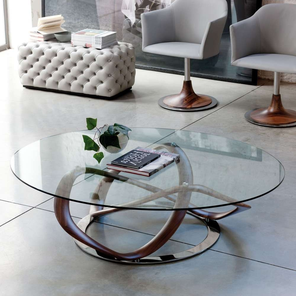 Infinity Glass Top Oval Coffee Table With Stainless Steel Frame In With Regard To Trendy Oval Glass Coffee Tables (View 11 of 20)