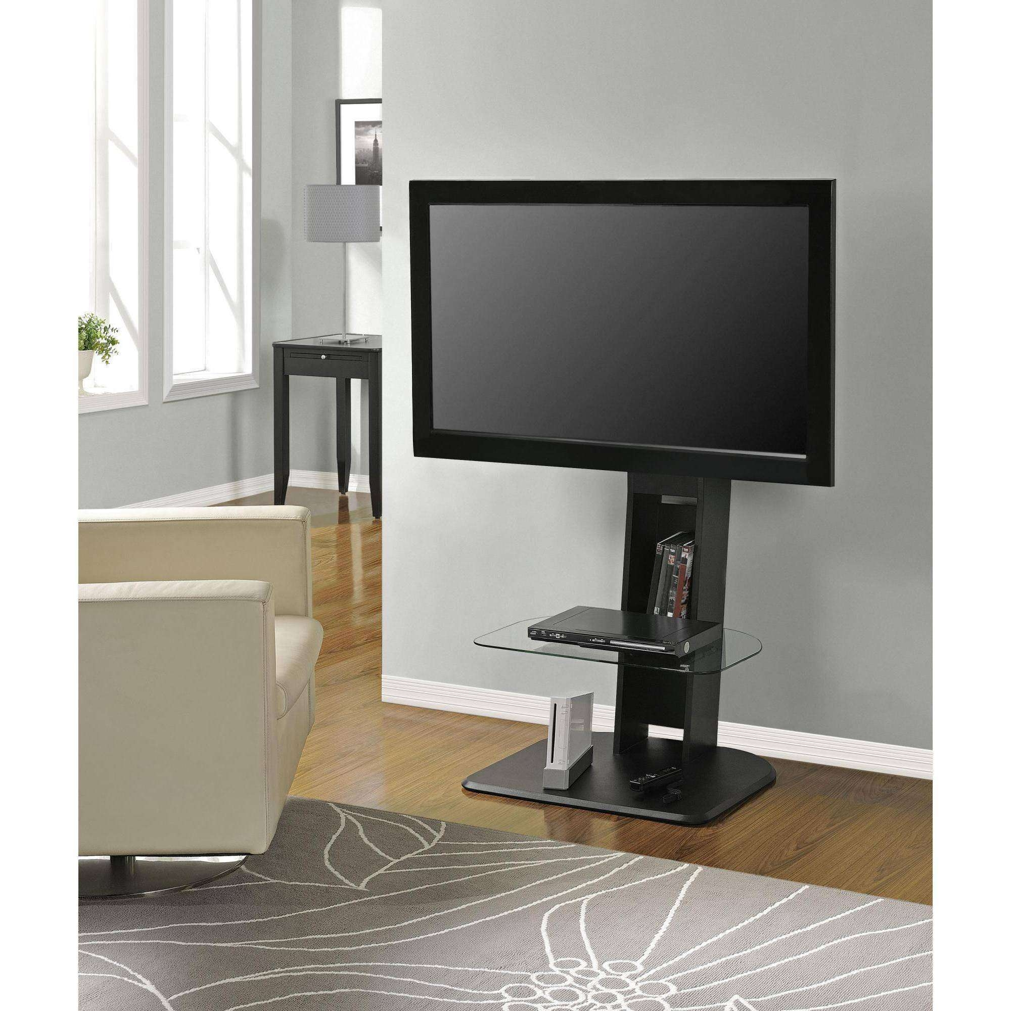 """Innovex Oxford Glass Black Tv Stand For Tvs Up To 83"""" – Walmart Throughout Small Black Tv Cabinets (View 7 of 20)"""