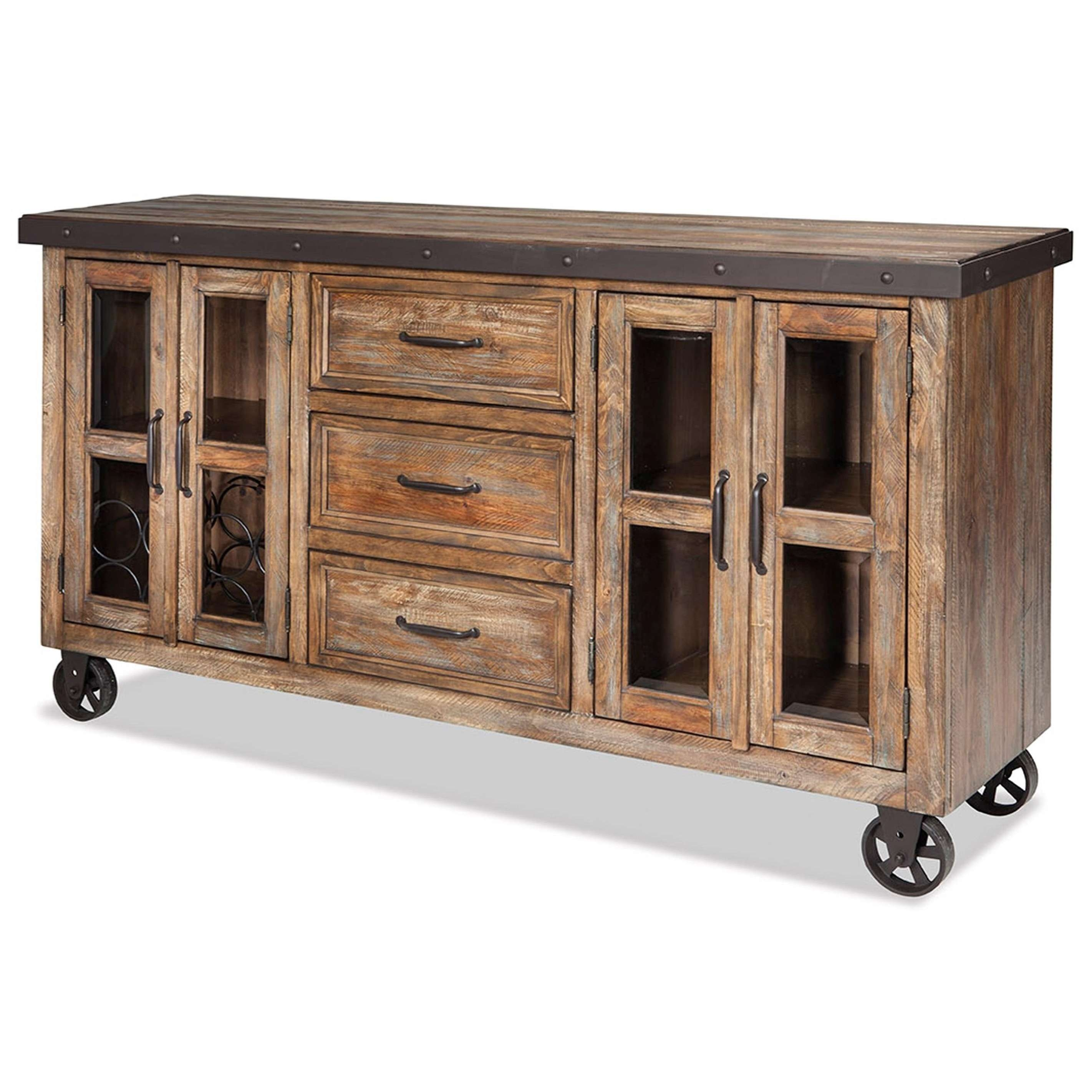 Intercon Taos Rustic Sideboard With Roll Up Media Drawer | Wayside Intended For Rustic Sideboards Furniture (View 8 of 20)