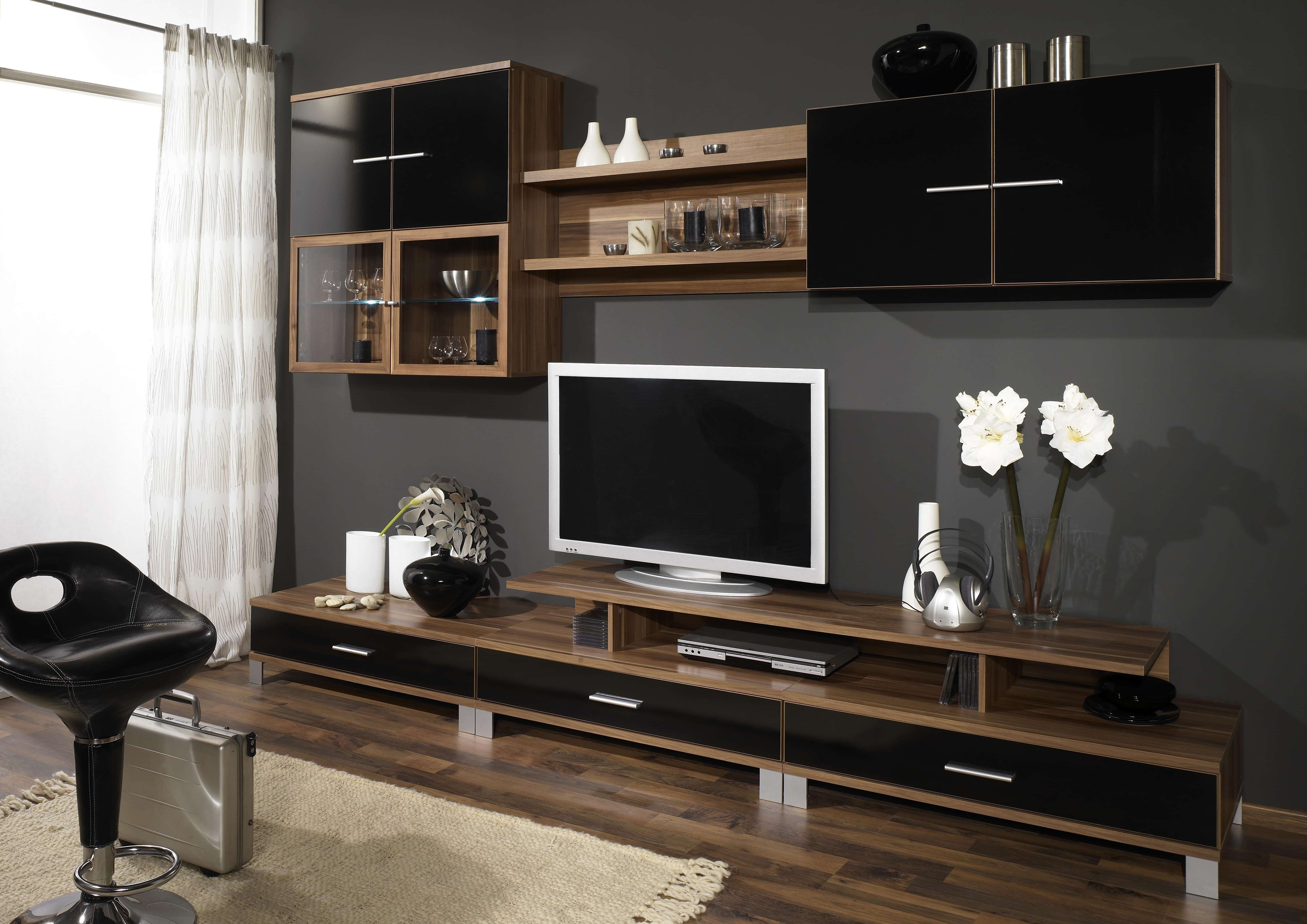 Interior Furniture Cabinets Wall Units Tv Wood Brown – Dining With Tv Cabinets And Wall Units (View 10 of 20)