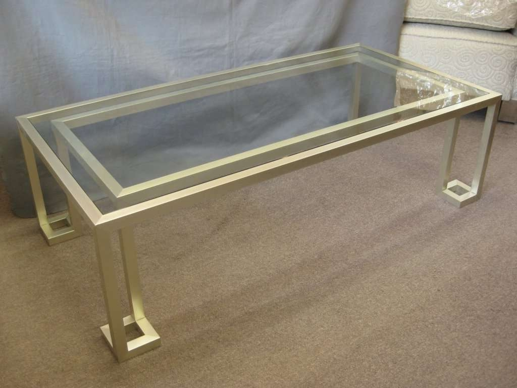 Italian 70's Rectangular Silvery/gold Metal Coffee Table At 1Stdibs With Widely Used Italian Coffee Tables (Gallery 18 of 20)