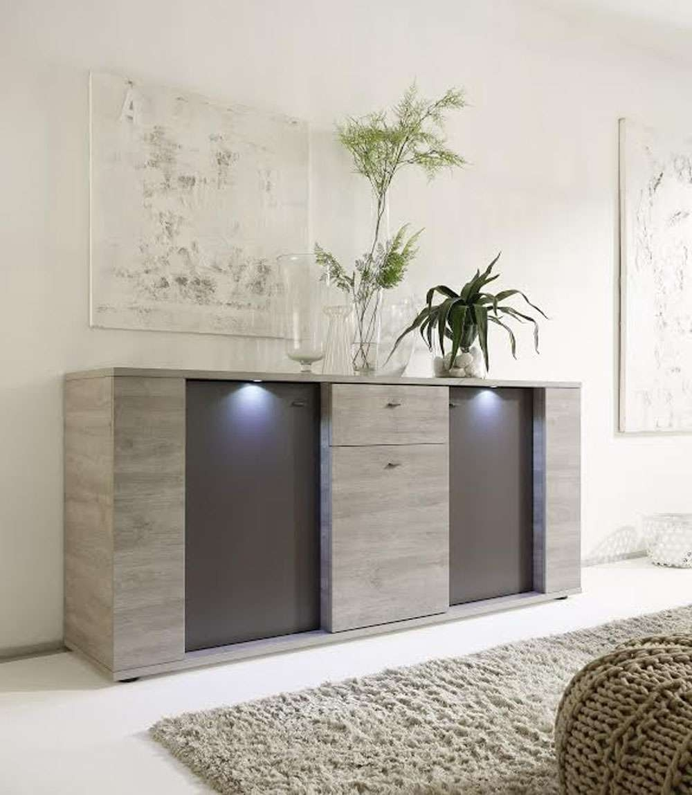 Italian Contemporary Sideboard Buffet With Led Lights Santa Ana With Regard To Contemporary Sideboards And Buffets (View 11 of 20)