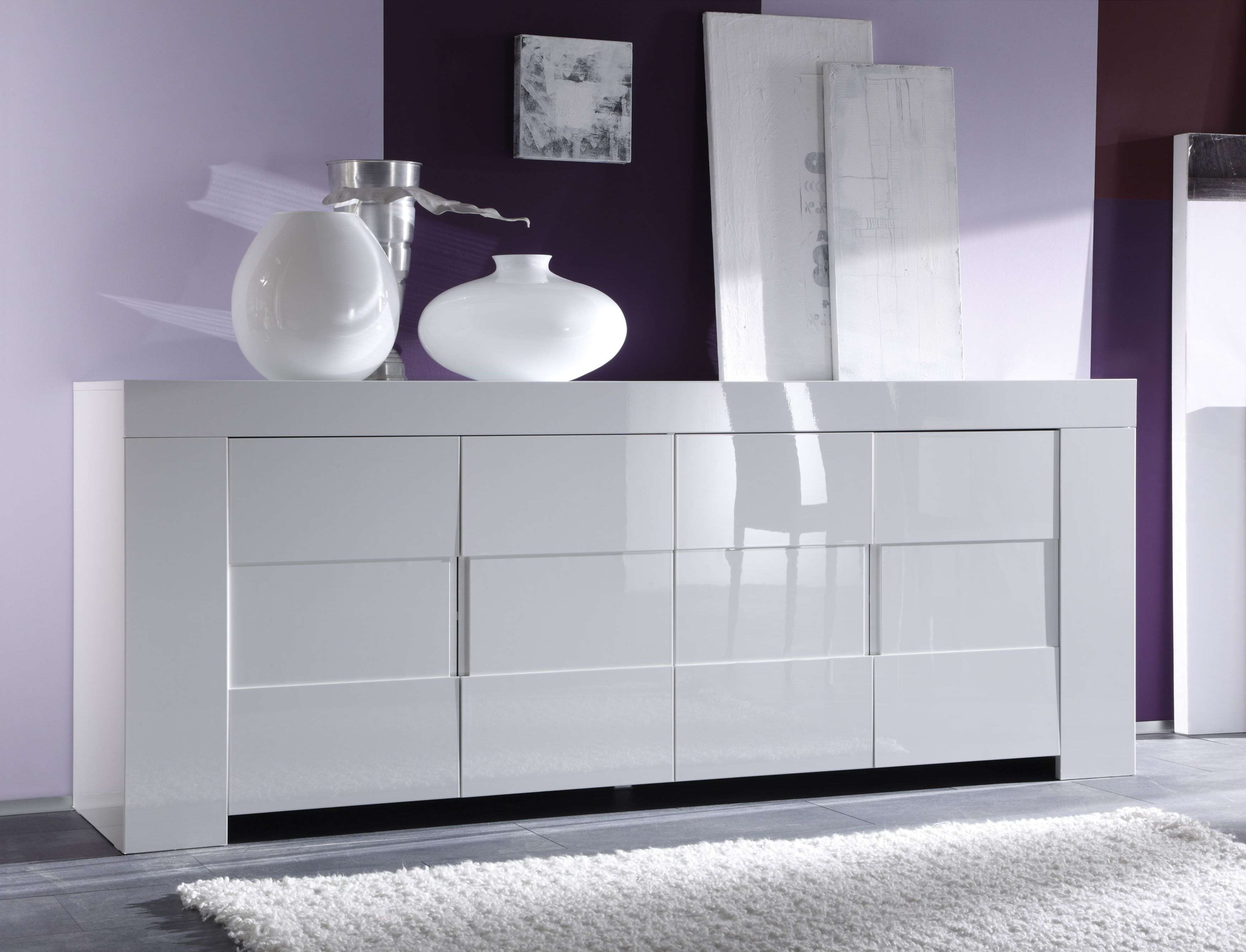 Italian Four Door High Gloss White Or Oak Veneer Buffet Sidaboard Intended For High White Gloss Sideboards (View 10 of 20)