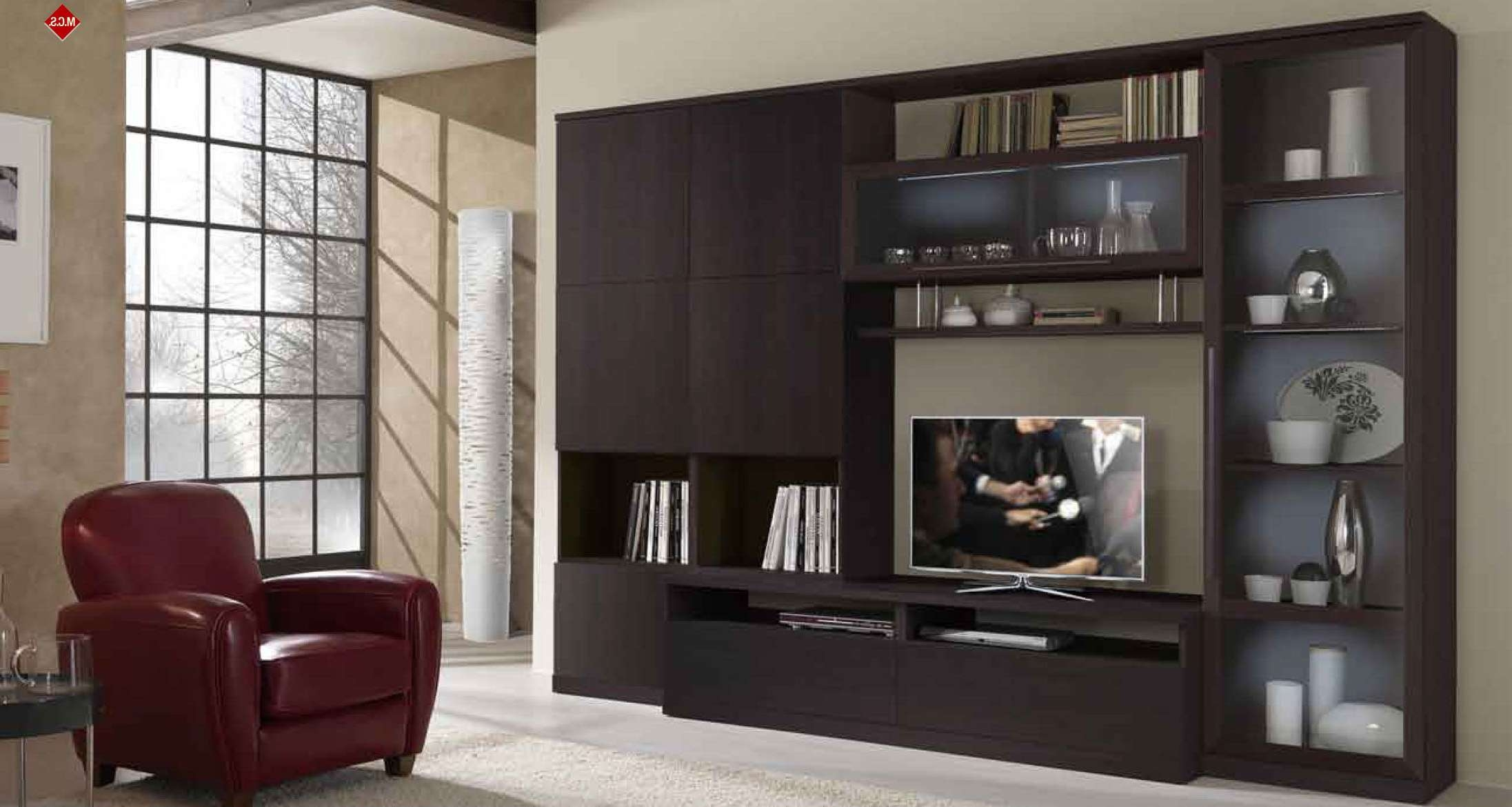 Italian Made Contemporary Huge Wall Entertainment Unit In Wenge In Wall Display Units And Tv Cabinets (Gallery 1 of 20)