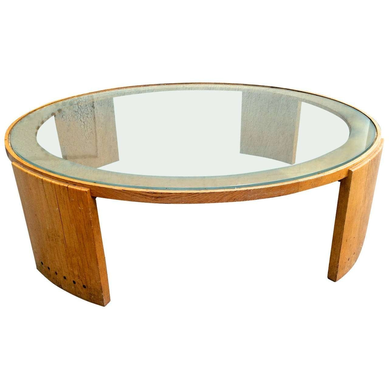 Jacques Adnet Very Large Round Coffee Table In Oak And Glass Top Throughout Most Up To Date Very Large Coffee Tables (View 11 of 20)