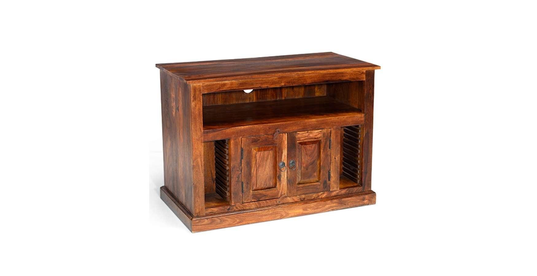 Jali Sheesham Chunky Tv Stand – Lifestyle Furniture Uk Regarding Jali Tv Cabinets (View 11 of 20)