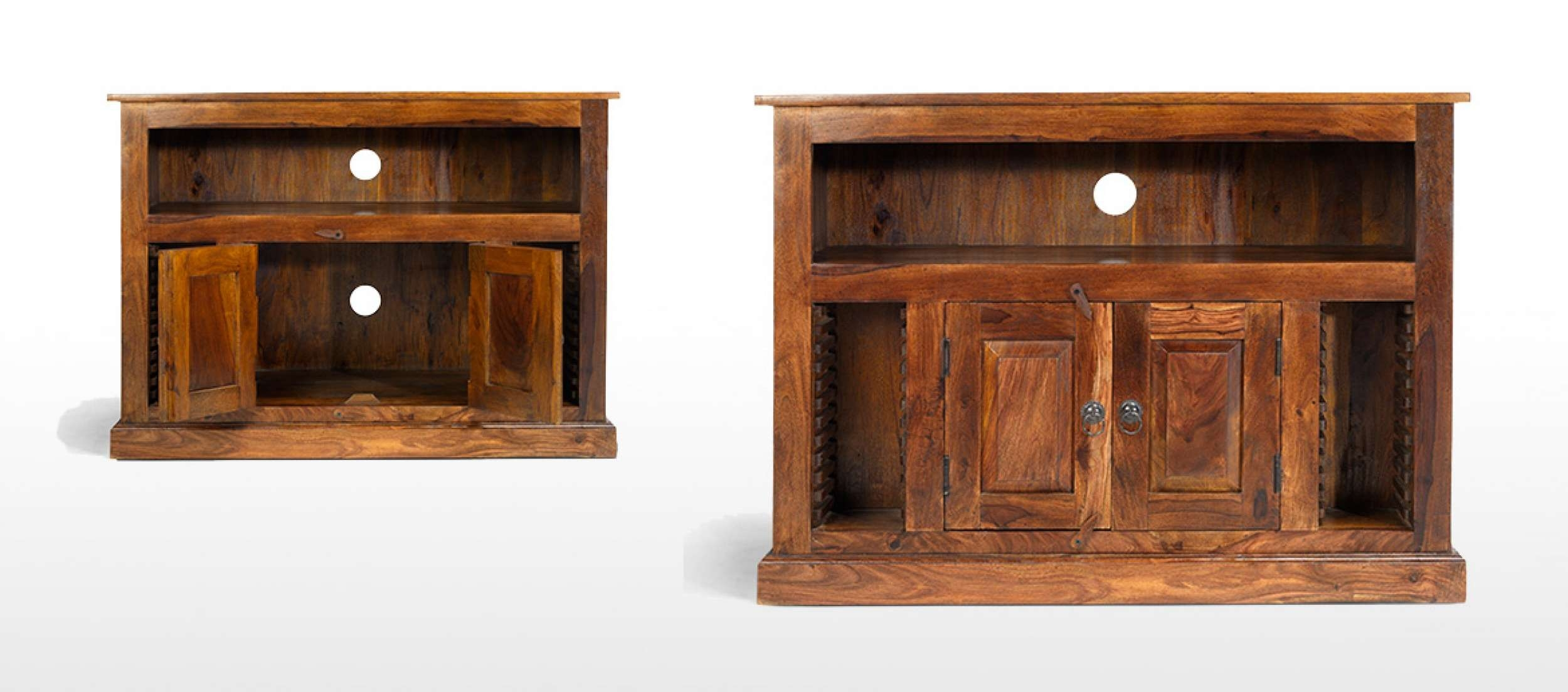 Jali Sheesham Chunky Tv Stand | Quercus Living Intended For Jali Tv Cabinets (View 10 of 20)