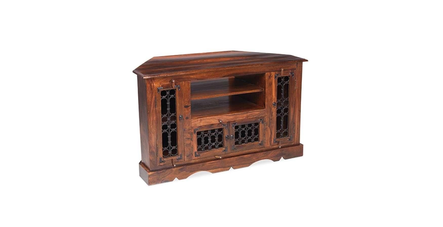 Jali Sheesham Corner Tv Cabinet – Lifestyle Furniture Uk Inside Large Corner Tv Cabinets (Gallery 20 of 20)