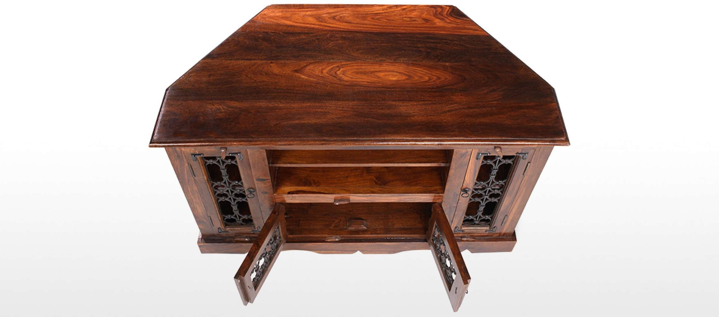 Jali Sheesham Corner Tv Cabinet | Quercus Living With Regard To Jali Tv Cabinets (View 15 of 20)
